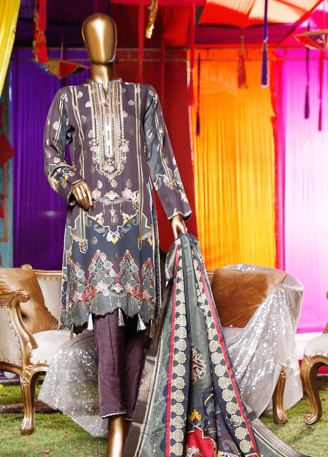 Turkish Jacquard by HZ Embroidered Viscose Unstitched 3 Piece Suit HZ20TV D-01-B - Festive Collection
