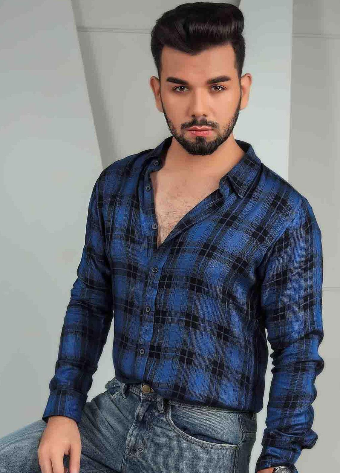 Ignite Wardrobe Linen Casual Plaid Men Shirts -  IG20SHM 024