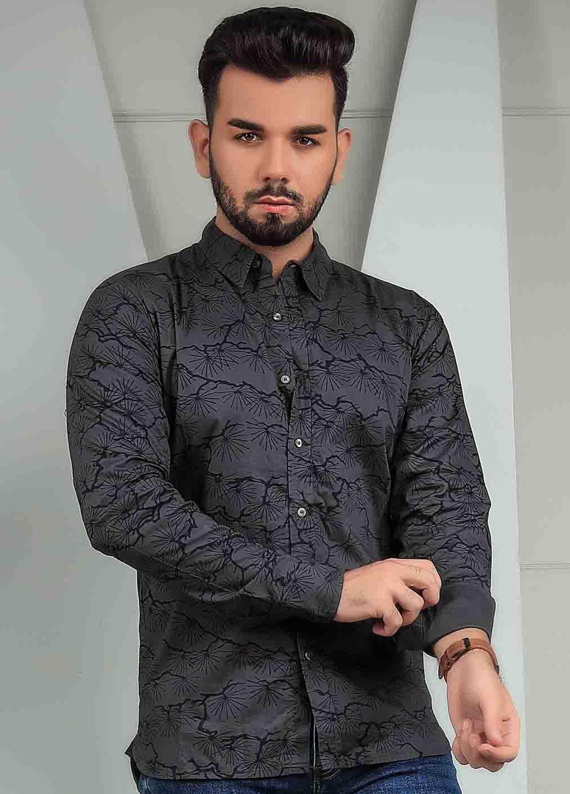 Ignite Wardrobe Cotton Casual Black Print Shirts for Men -  IG20SHM 025