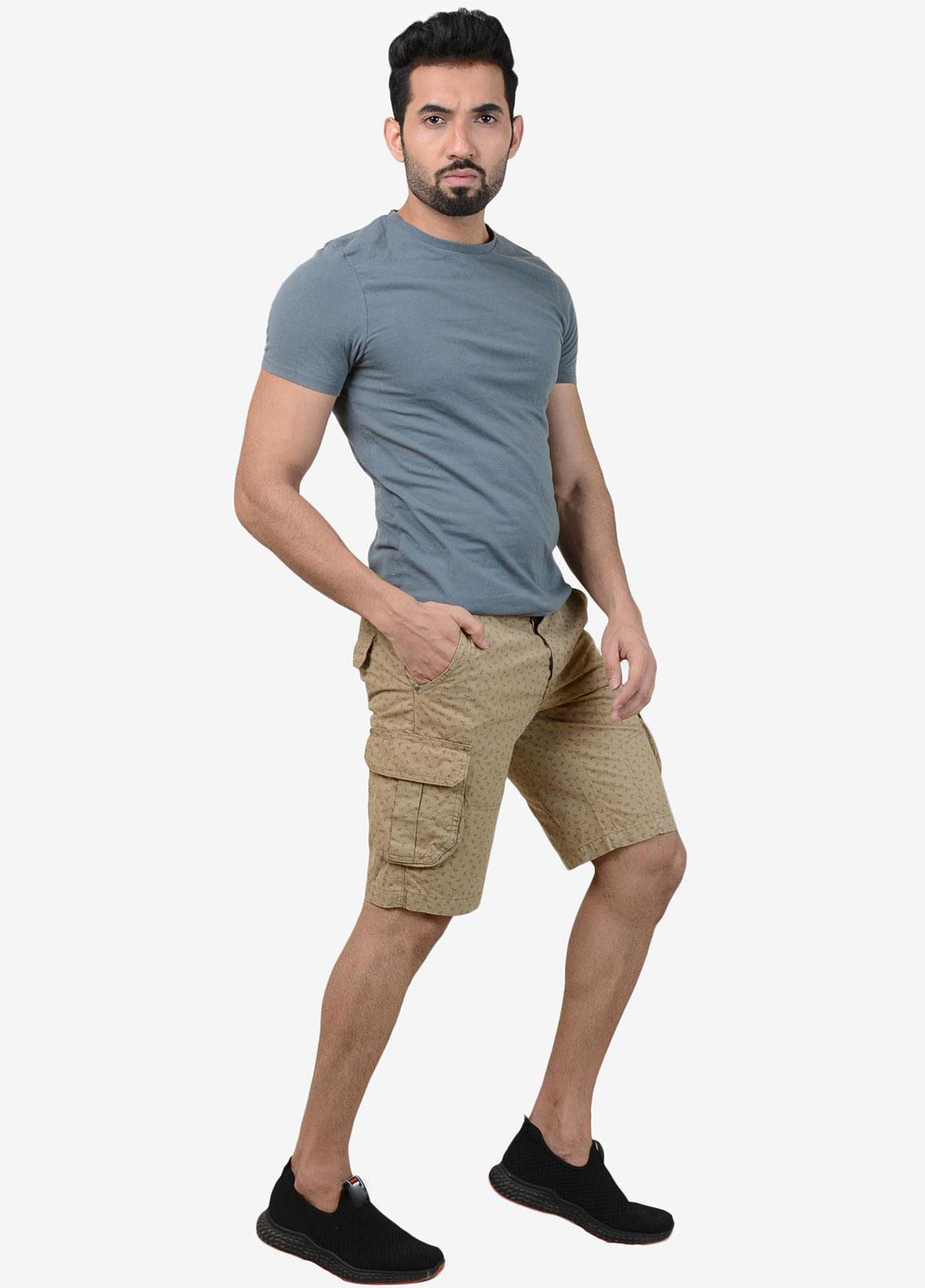 Ignite Wardrobe Cotton Camel Printed Shorts for Men -  IG20SOM 005