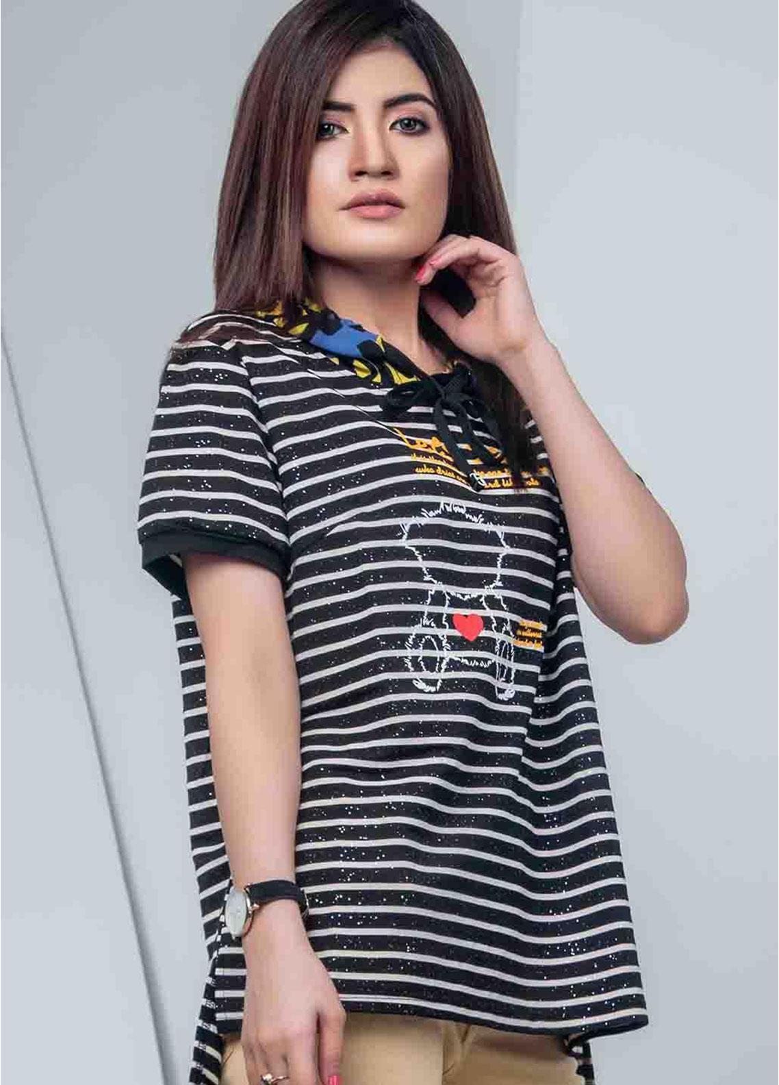 Ignite Wardrobe Casual Striped Cotton Hoodie T-Shirt IG20HDW 002