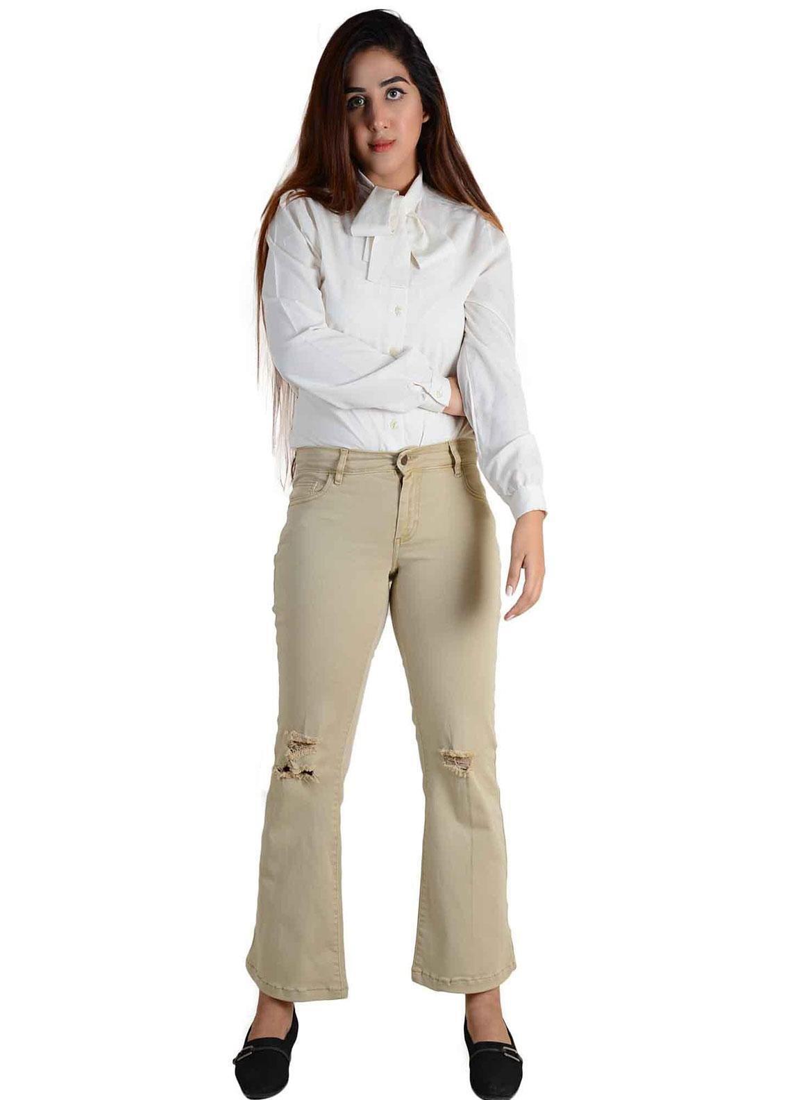 Ignite Wardrobe Stretchable Cotton Boot Cut Pants IG20PNW 008