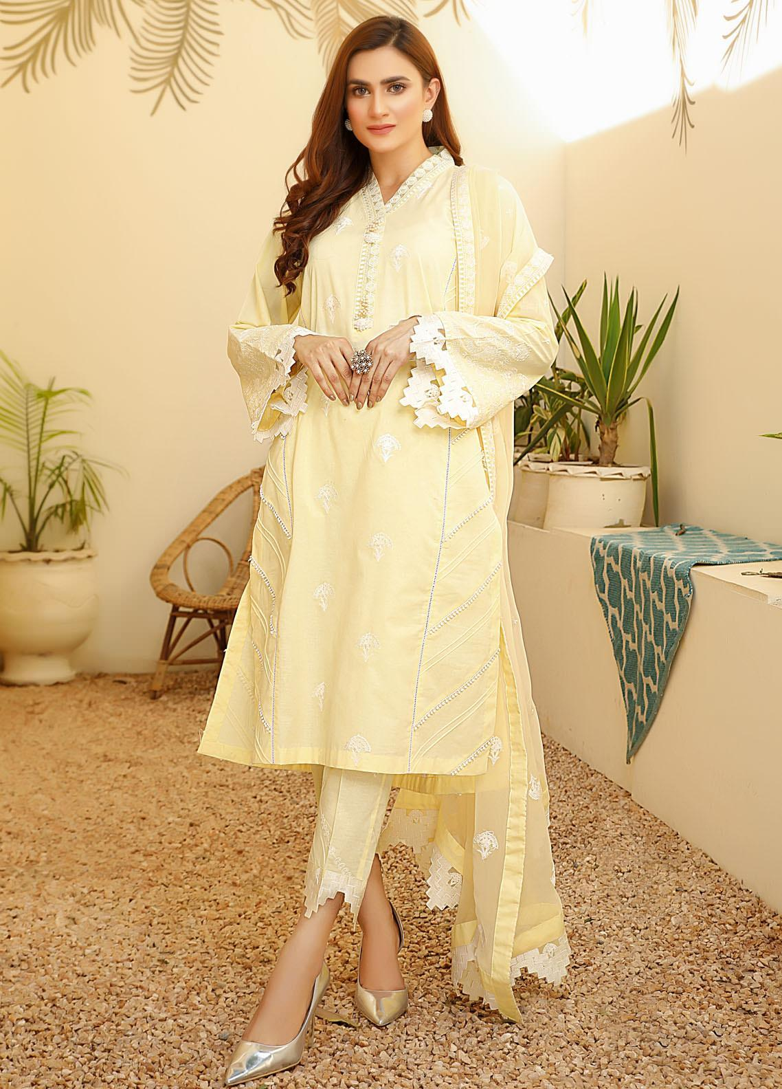 ILAHA Embroidered Lawn Stitched 3 Piece Suit ILH21PF 07 Zel