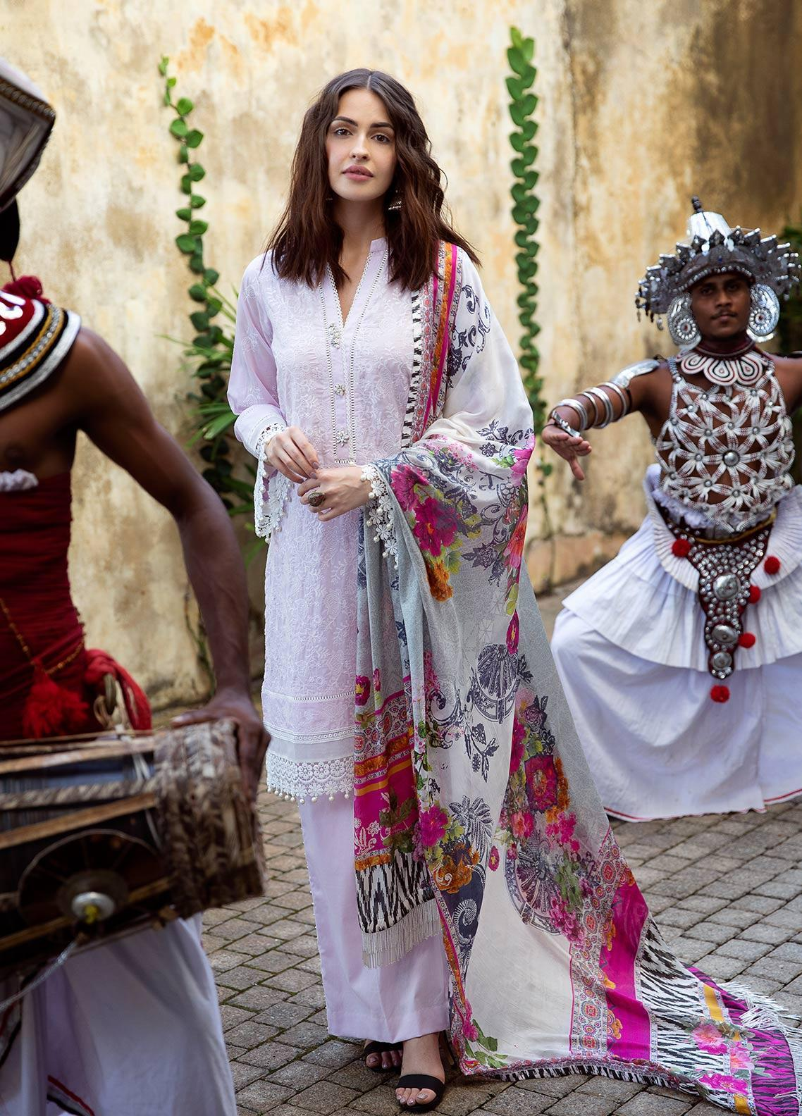 Image Embroidered Cotton Unstitched 3 Piece Suit IMG19LK 08 MIDHI - Luxury Collection