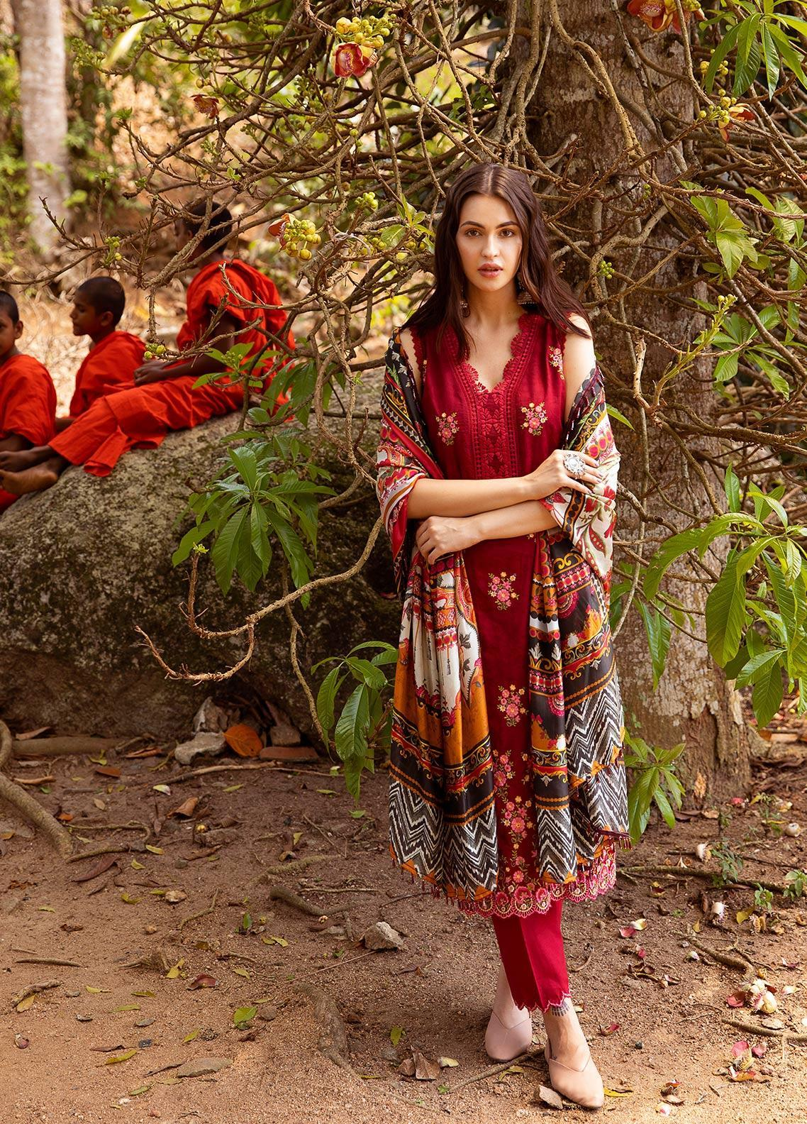 Image Embroidered Jacquard Unstitched 3 Piece Suit IMG19LK 09 ROBIYA - Luxury Collection