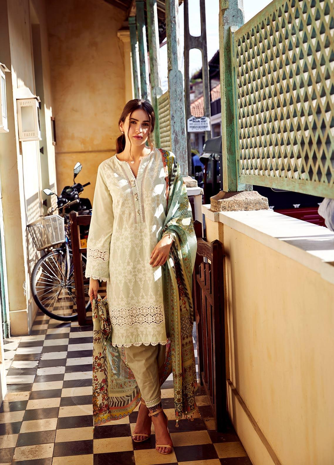 Image Embroidered Cotton Unstitched 3 Piece Suit IMG19LK 14 CHAMPAKA - Luxury Collection