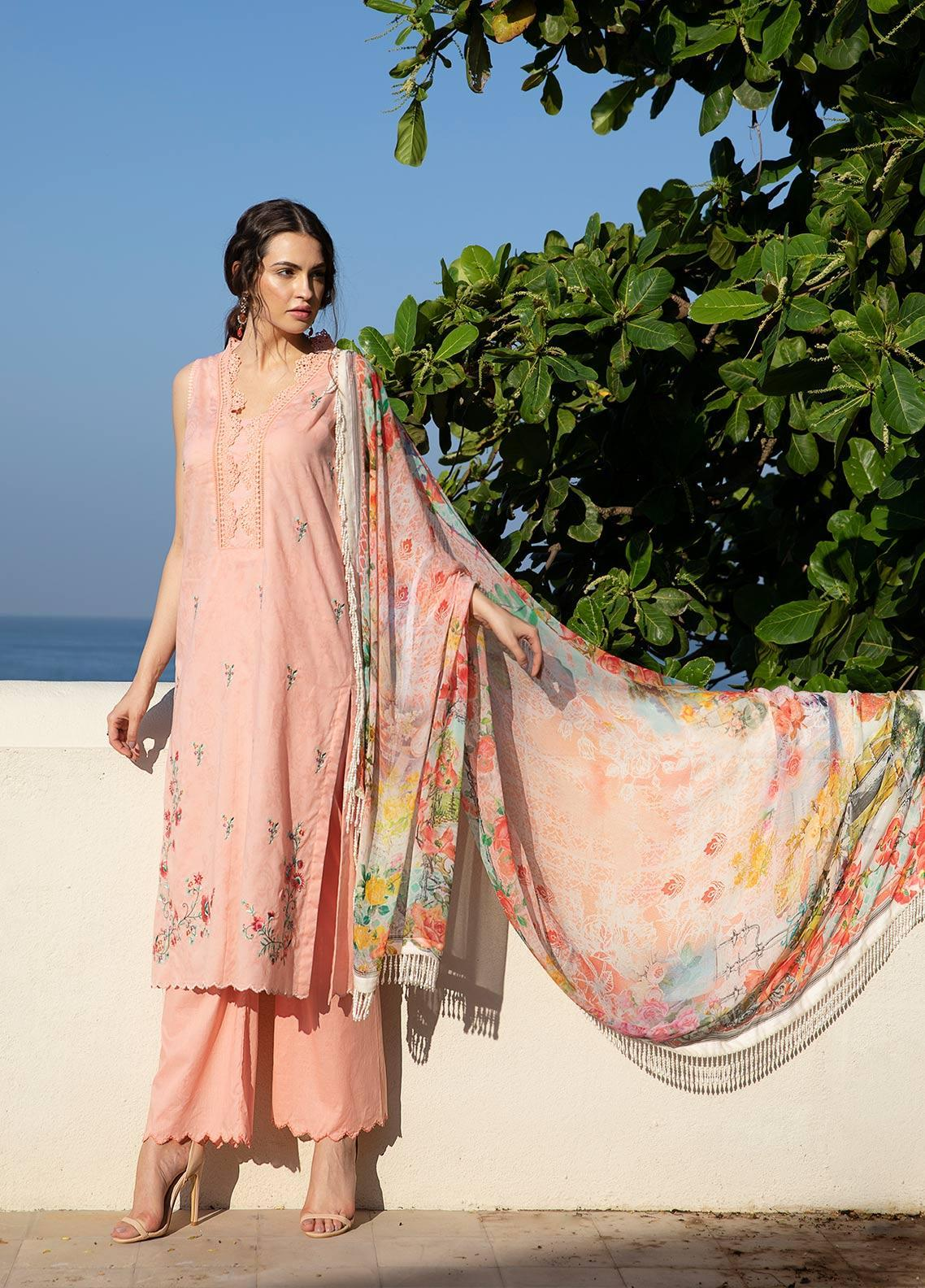 Image Embroidered Jacquard Unstitched 3 Piece Suit IMG19LK 16 NELUM - Luxury Collection