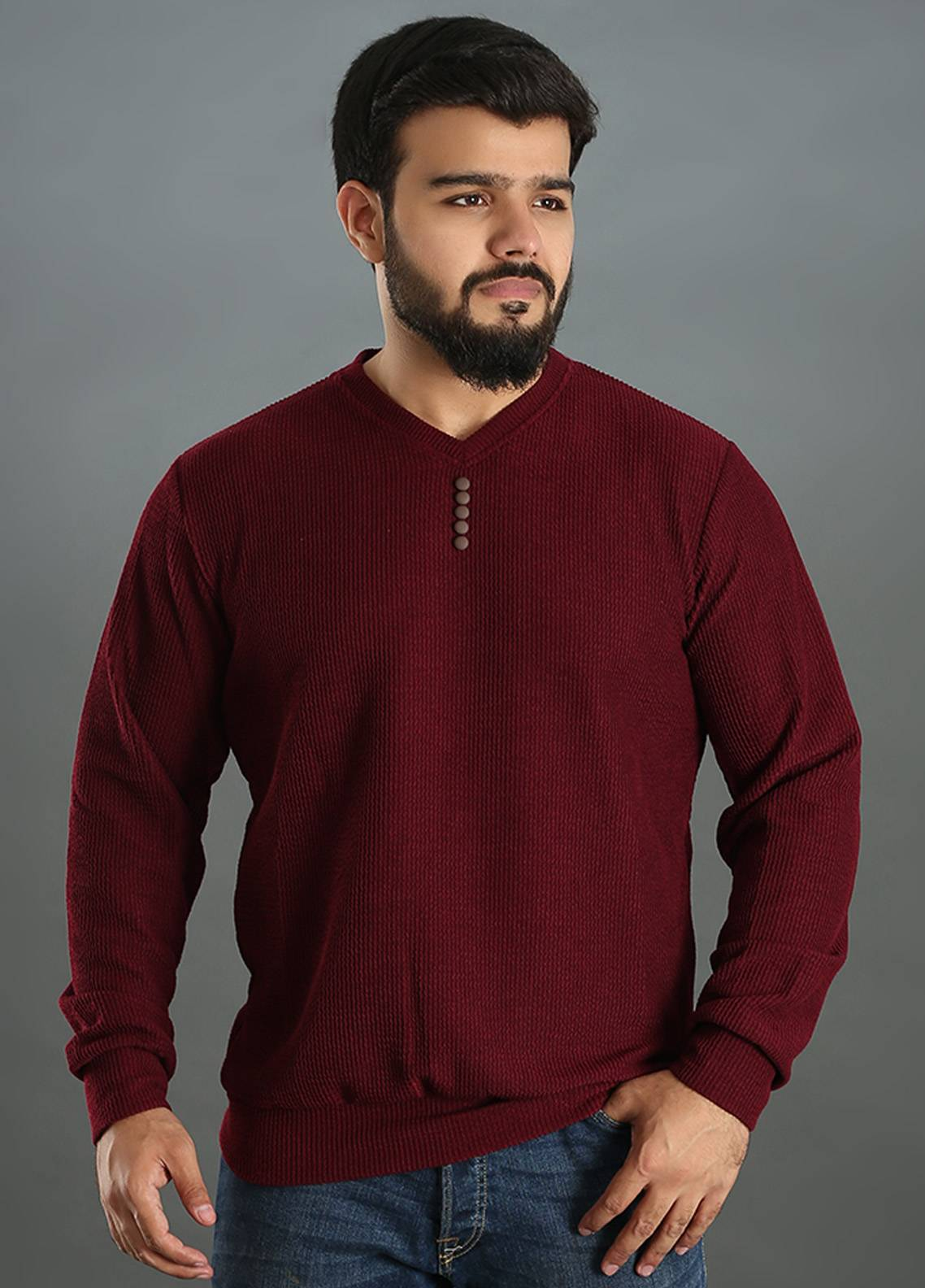 Sanaulla Exclusive Range Jersey V-Neck T-Shirts for Men - Maroon SAM18TS 13