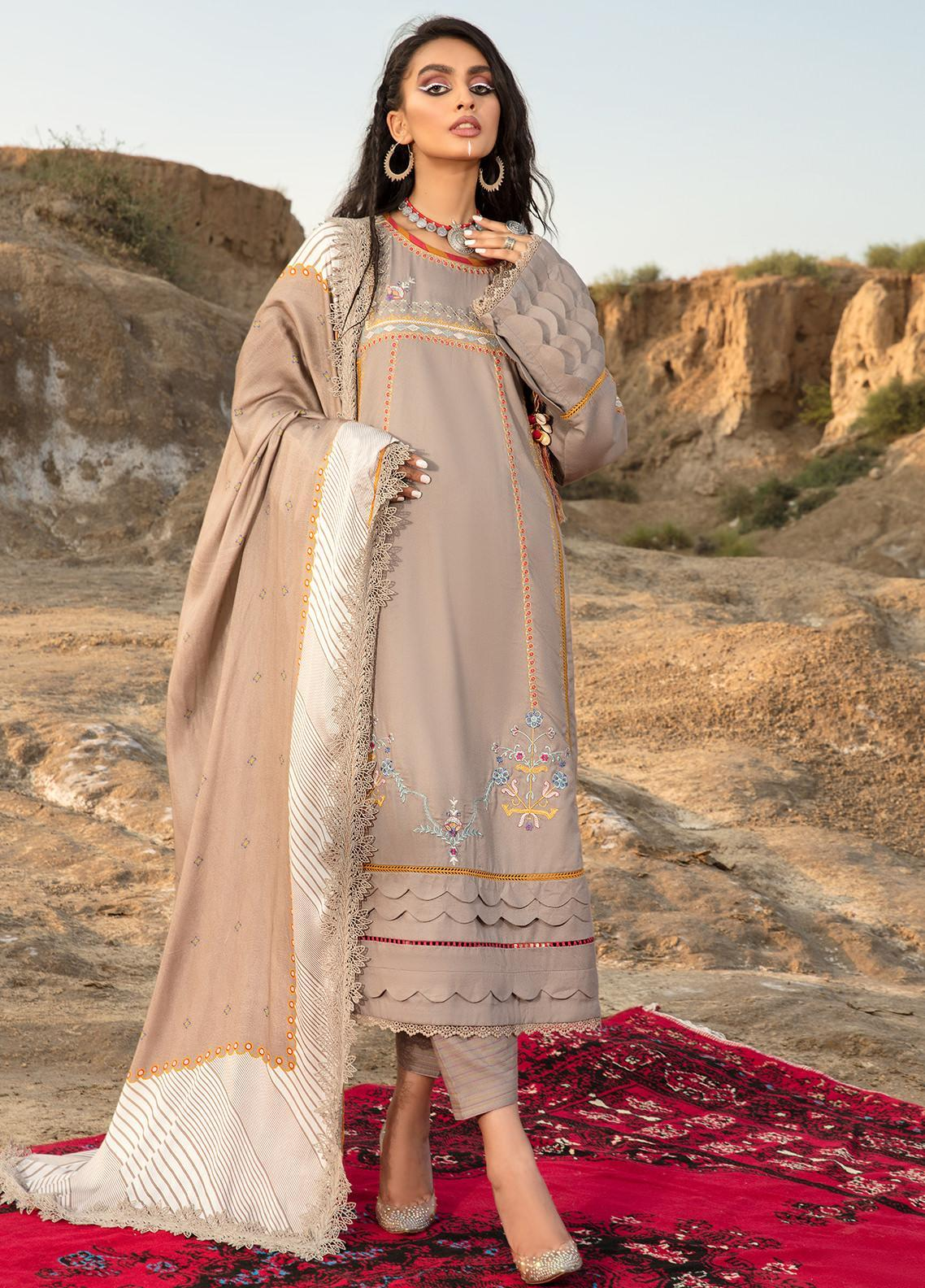 Ittehad Textiles Embroidered Crepe Suits Unstitched 3 Piece IT21WP 08 NACRE PLATIN - Winter Collection