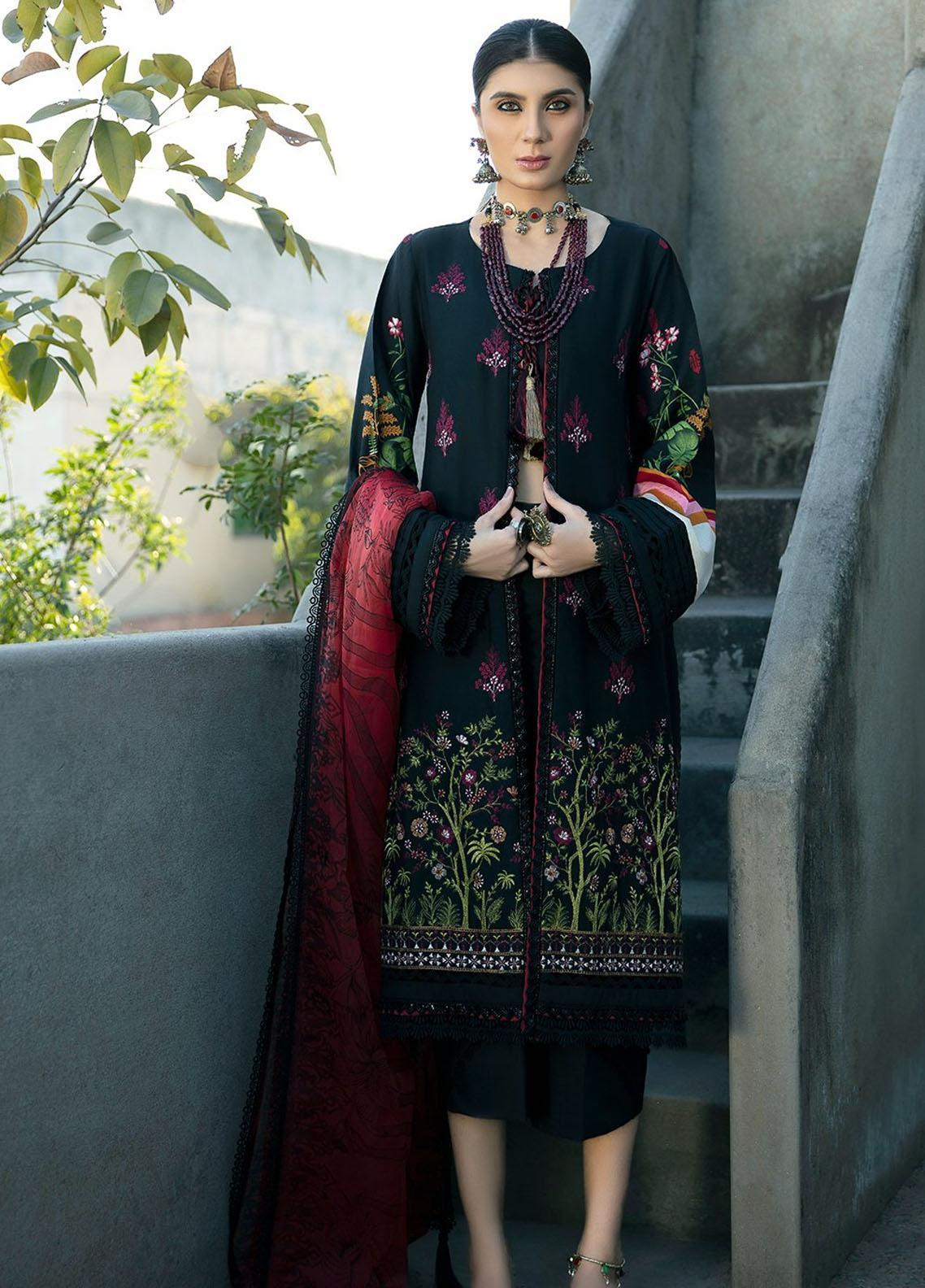 Ittehad Textiles Embroidered Lawn Suits Unstitched 3 Piece ITD21SS BORDEAUX - Spring / Summer Collection