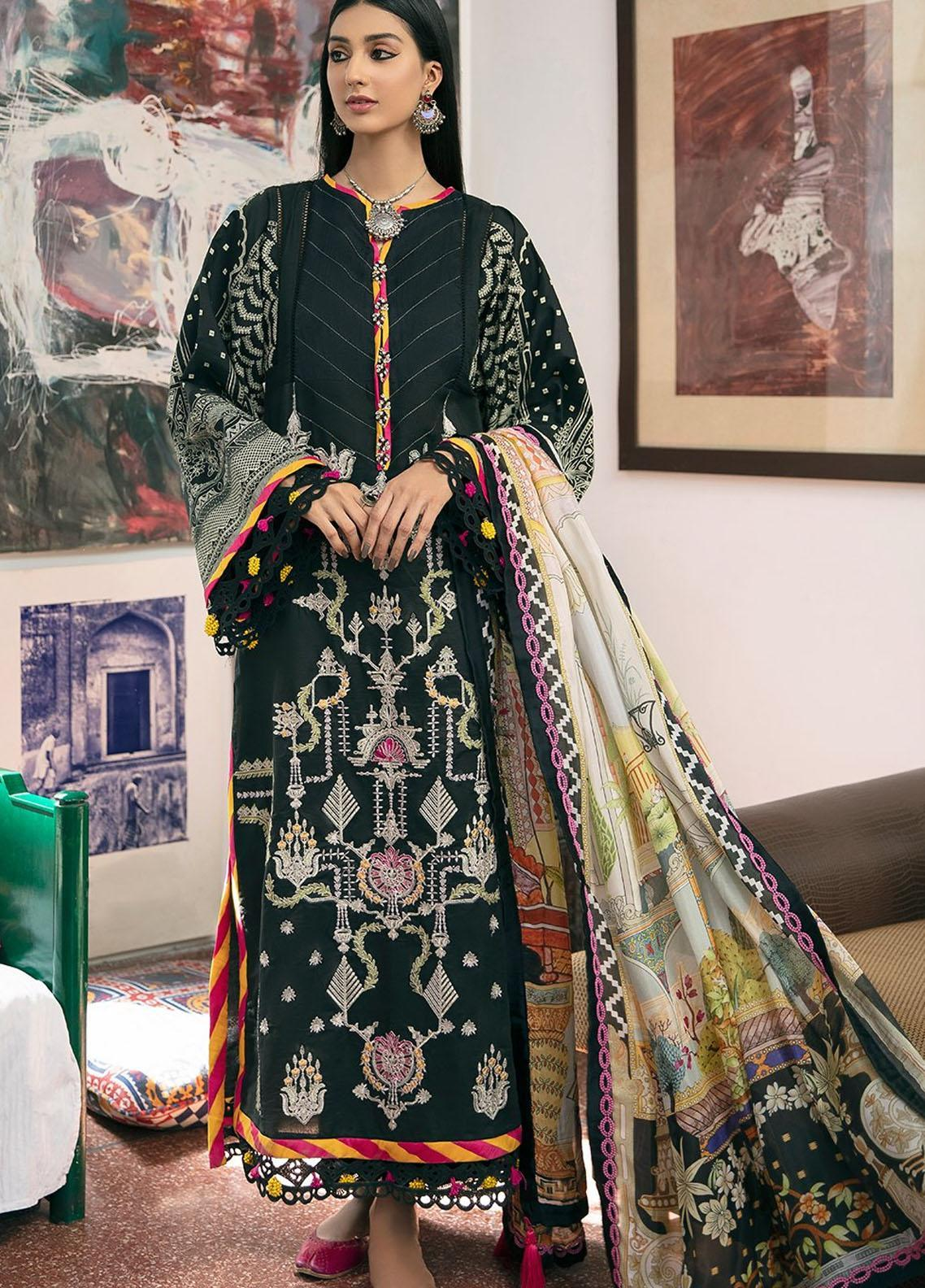 Ittehad Textiles Embroidered Lawn Suits Unstitched 3 Piece ITD21SS ETHNIQUE - Spring / Summer Collection