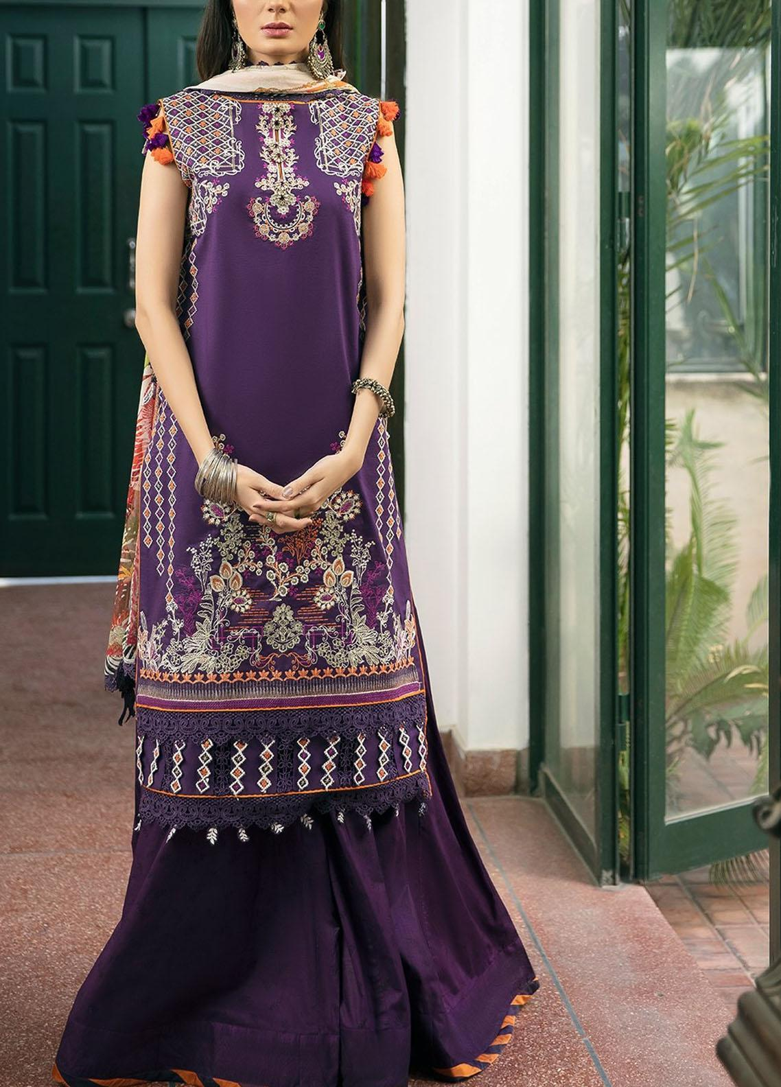 Ittehad Textiles Embroidered Lawn Suits Unstitched 3 Piece ITD21SS PRUNE - Spring / Summer Collection
