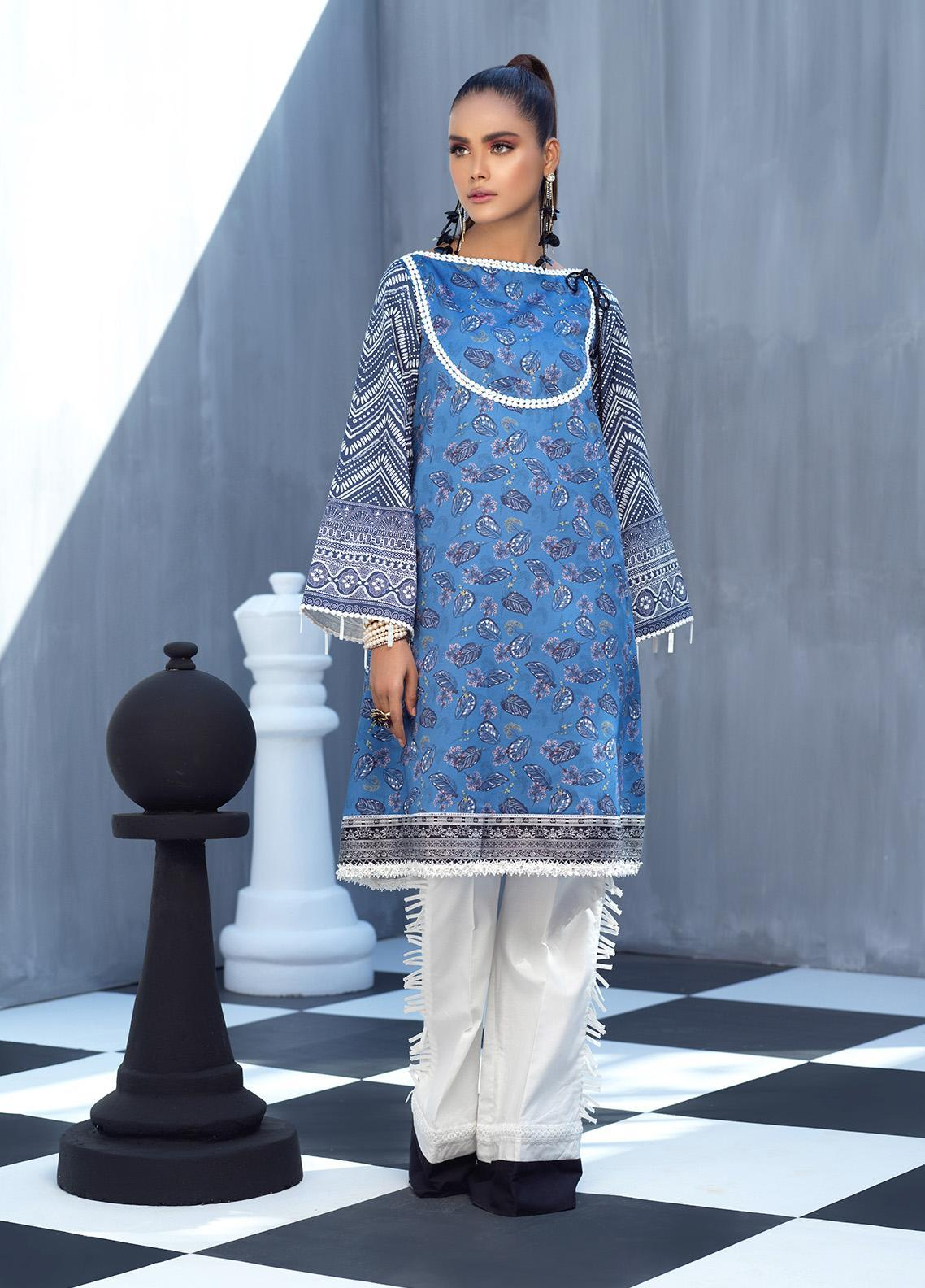 Ittehad Textiles Printed Cotton Satin Unstitched Kurties IT20C BLUE BELL 13 - Spring / Summer Collection