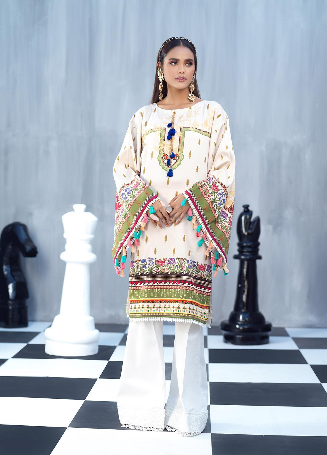 Ittehad Textiles Printed Cotton Satin Unstitched Kurties IT20C NARCISSUS 06 - Spring / Summer Collection