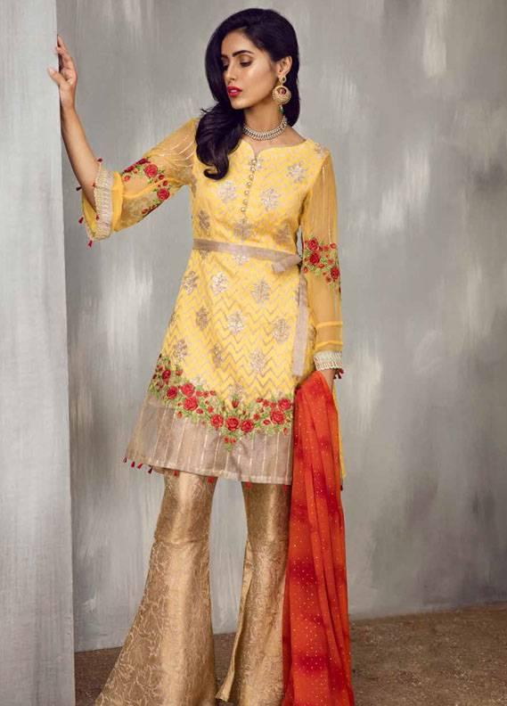 Iznik Embroidered Chiffon Unstitched 3 Piece Suit IZ17C3 10