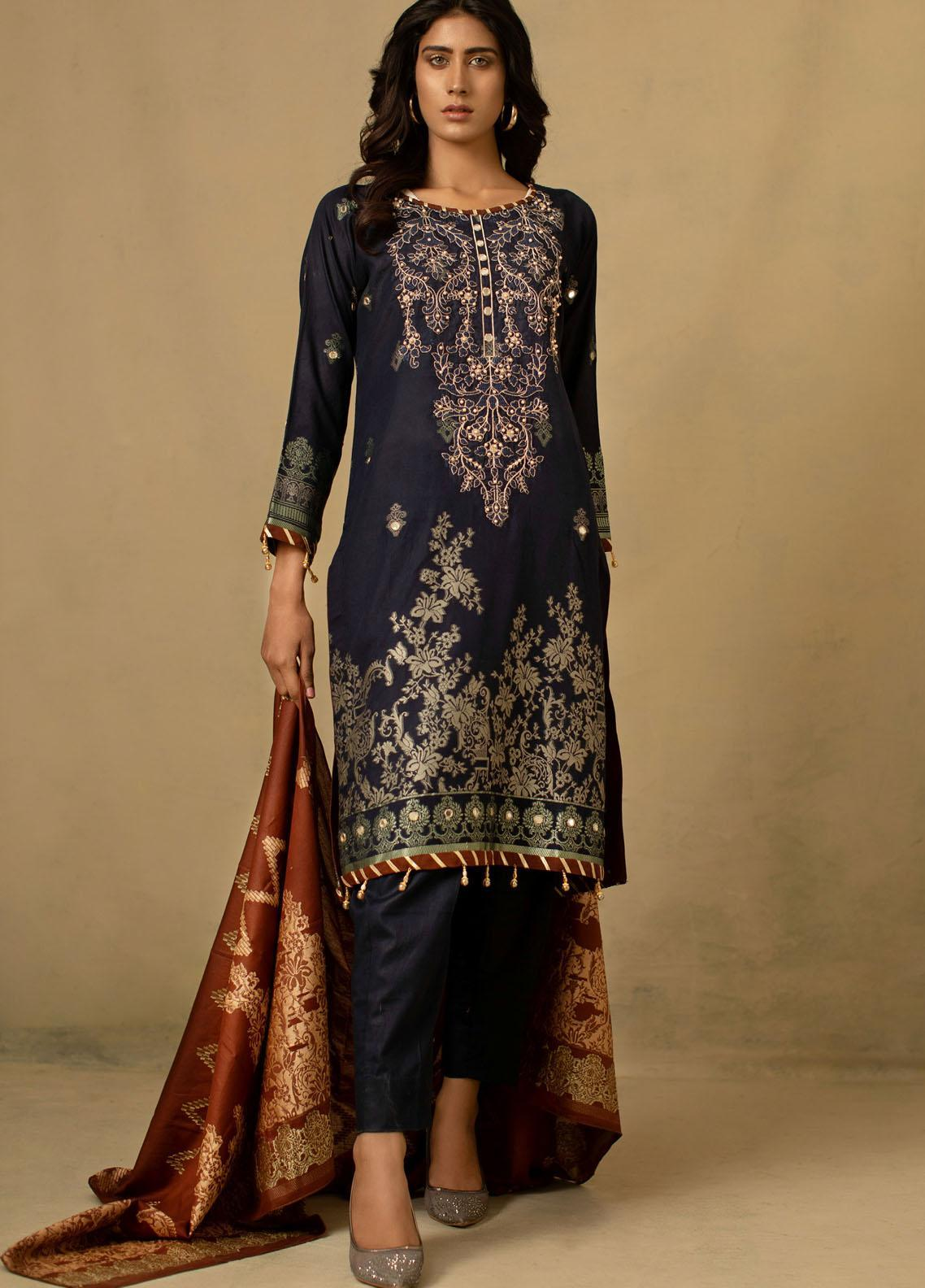Jahan by AB Textiles Embroidered Jacquard Unstitched 3 Piece Suit AB21JCR 02 Bleu Fonce - Casual Collection