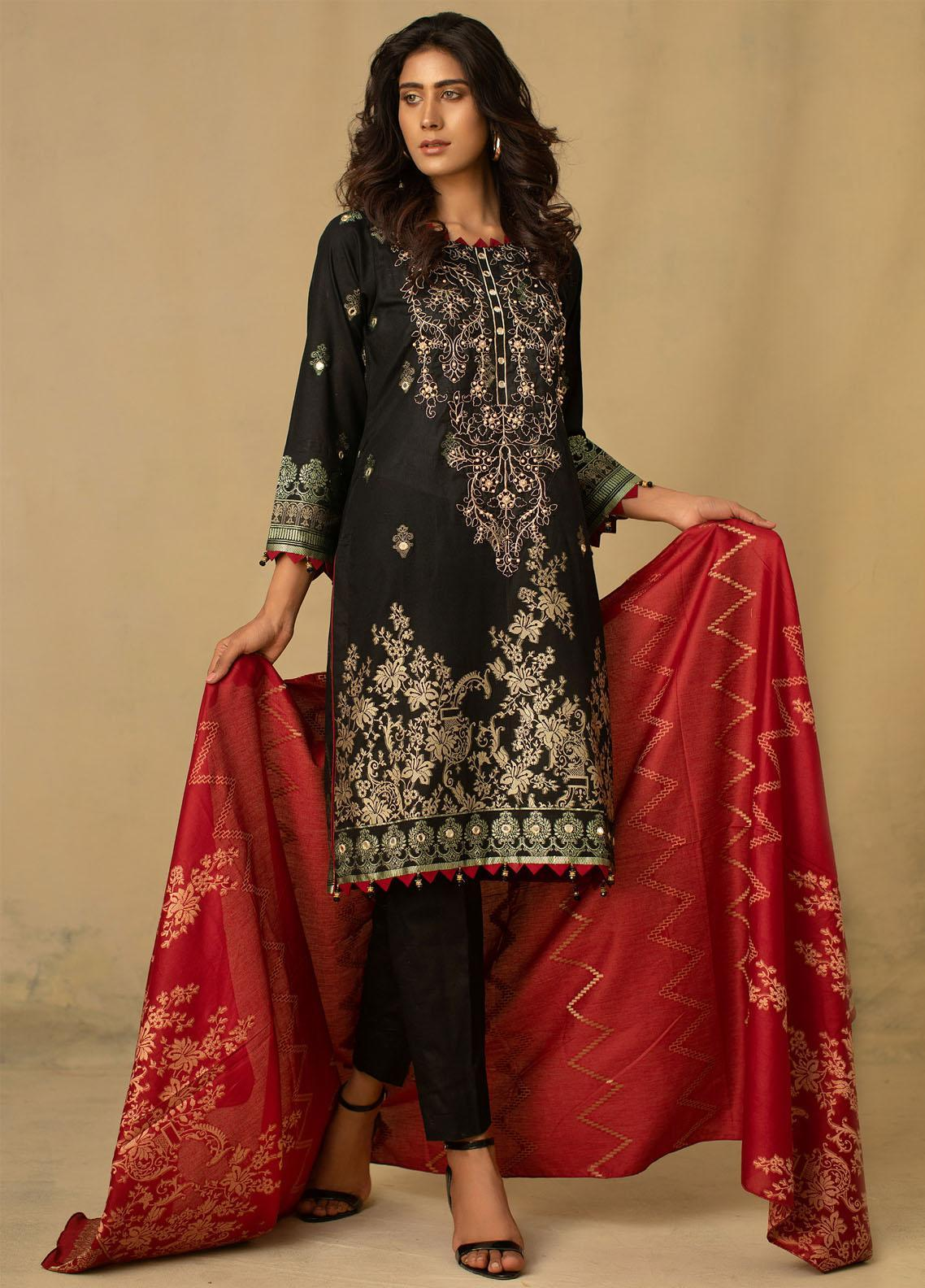 Jahan by AB Textiles Embroidered Jacquard Unstitched 3 Piece Suit AB21JCR 03 Noire - Casual Collection