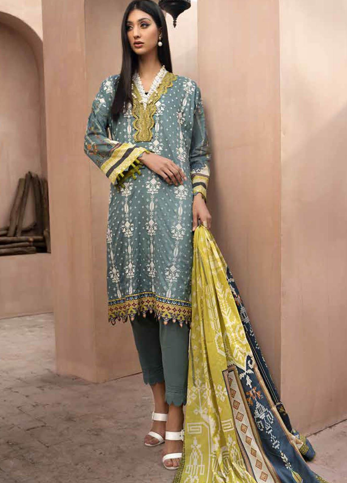 Jahanara Embroidered Lawn Suits Unstitched 3 Piece JN21SS 03 - Luxury Collection