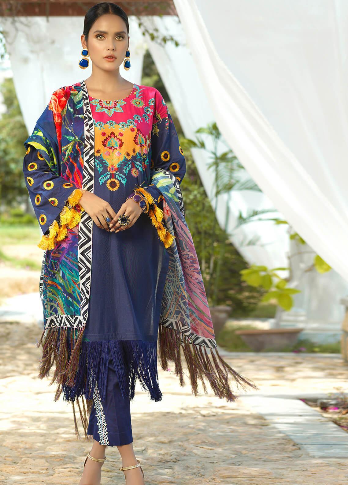 Jan-e-Adaa by Keshia Embroidered Lawn Unstitched 3 Piece Suit K20JA 12 KE-CS-0520 Milosc - Luxury Collection