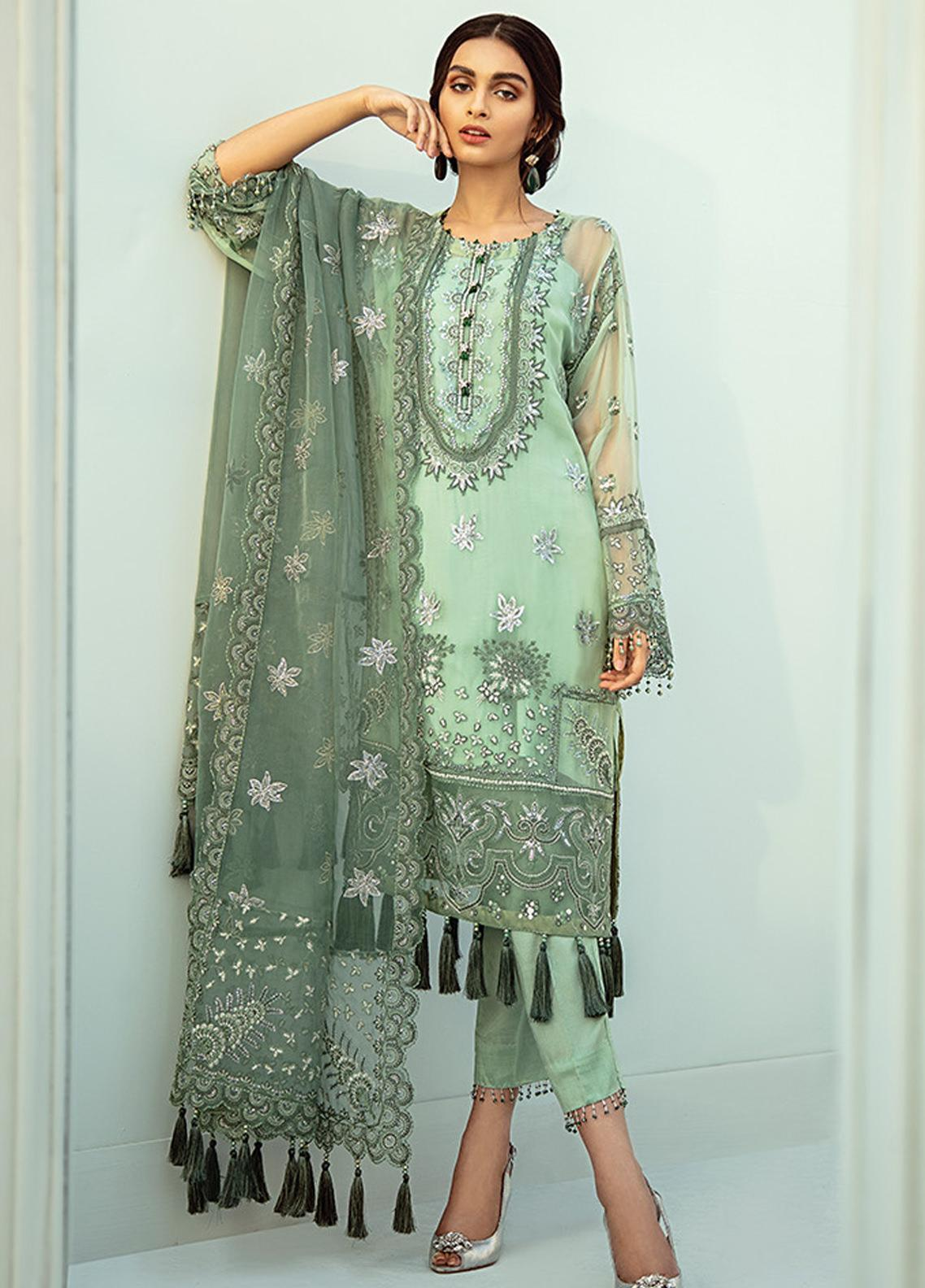 Janaan by Xenia Formals Embroidered Chiffon Unstitched 3 Piece Suit XE20J 01 AYSEL - Luxury Collection