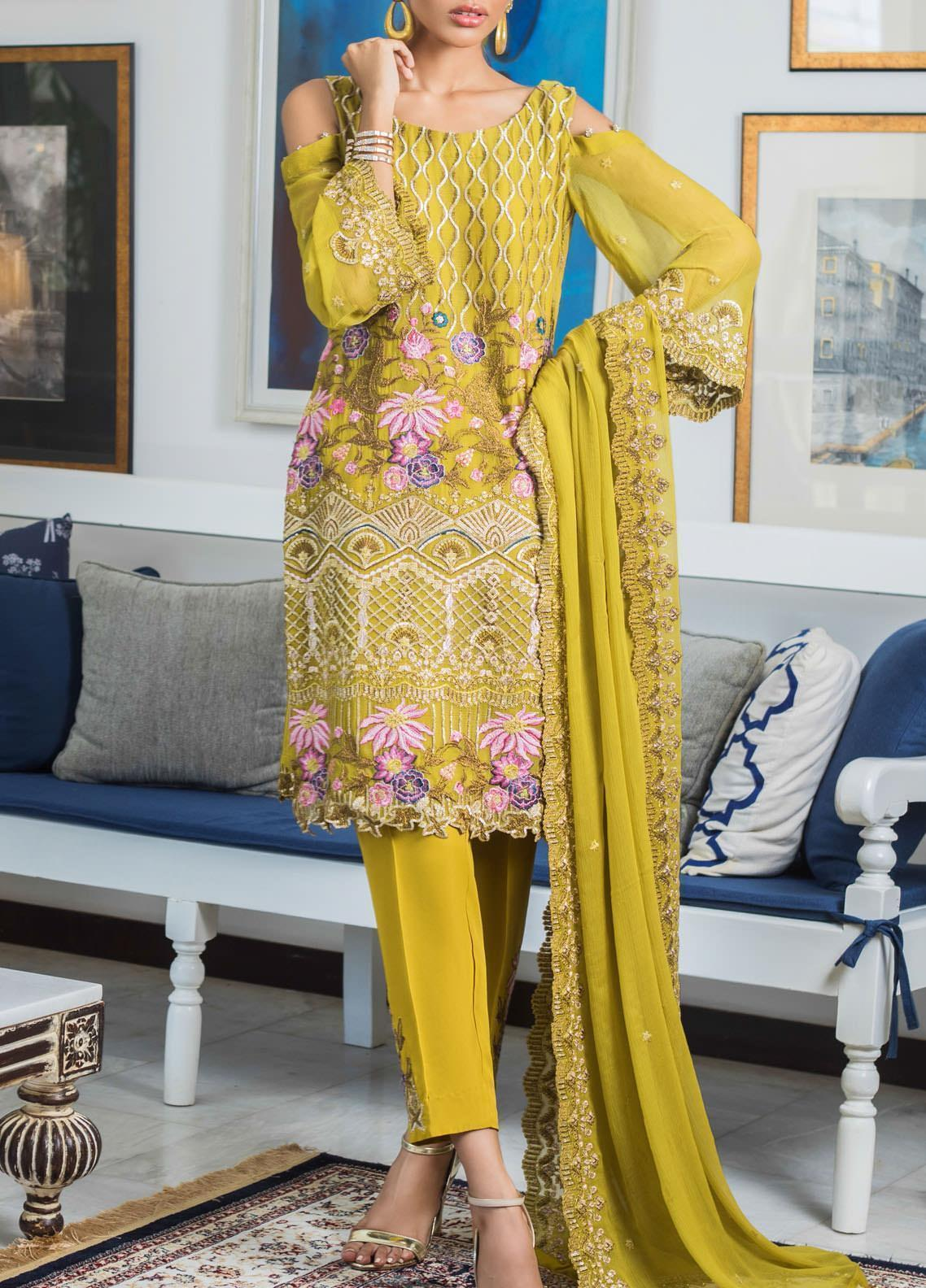 Jazmin by Zohan Textiles Embroidered Chiffon Unstitched 3 Piece Suit ZT20PC 01A - Luxury Collection