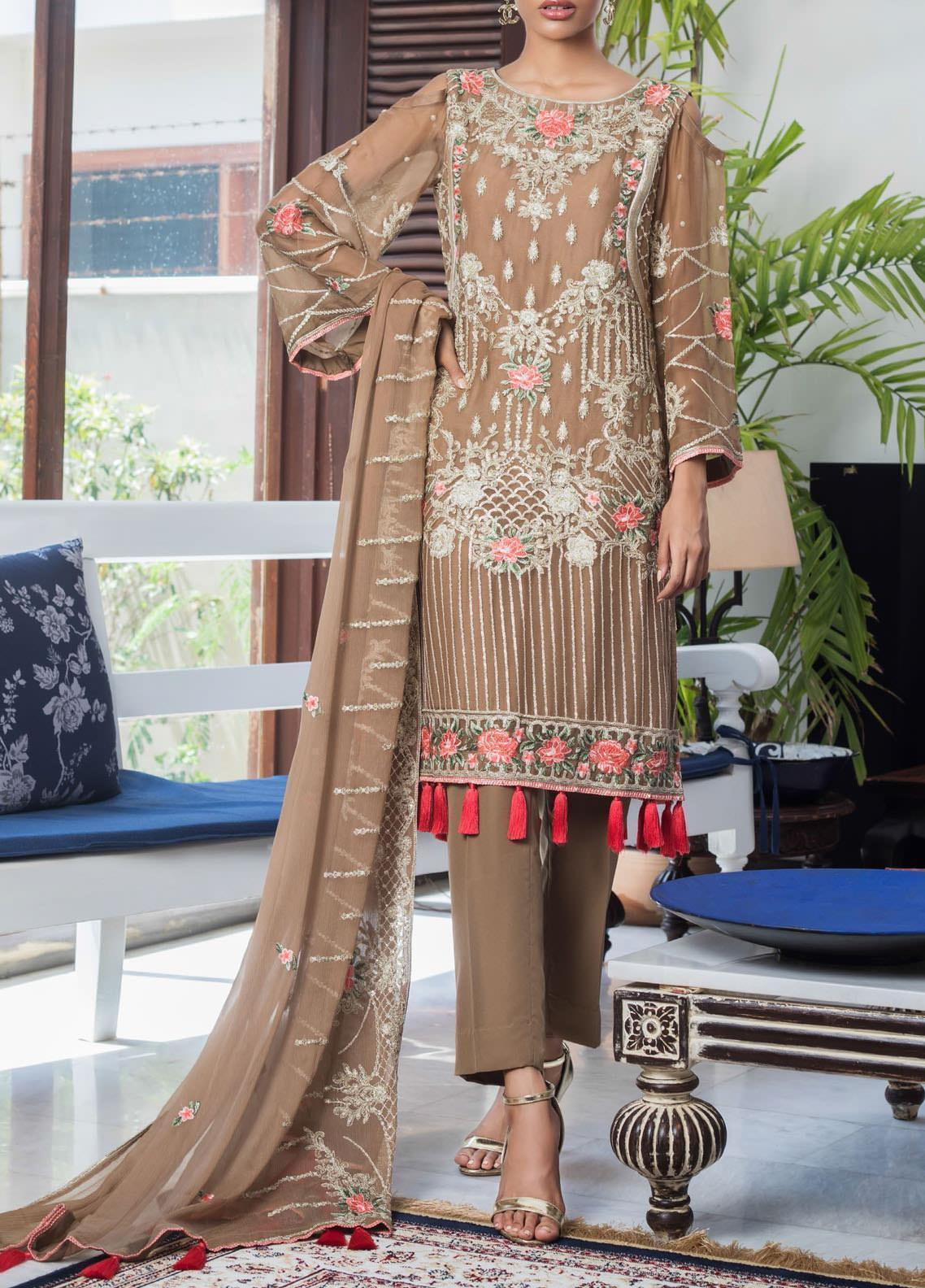 Jazmin by Zohan Textiles Embroidered Chiffon Unstitched 3 Piece Suit ZT20PC 08A - Luxury Collection