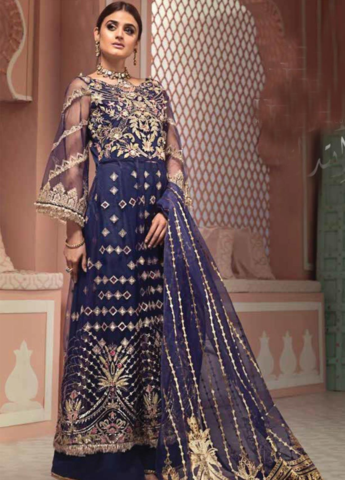 Jeem Embroidered Net Unstitched 3 Piece Suit JM19W NEELAM 3 - Wedding Collection