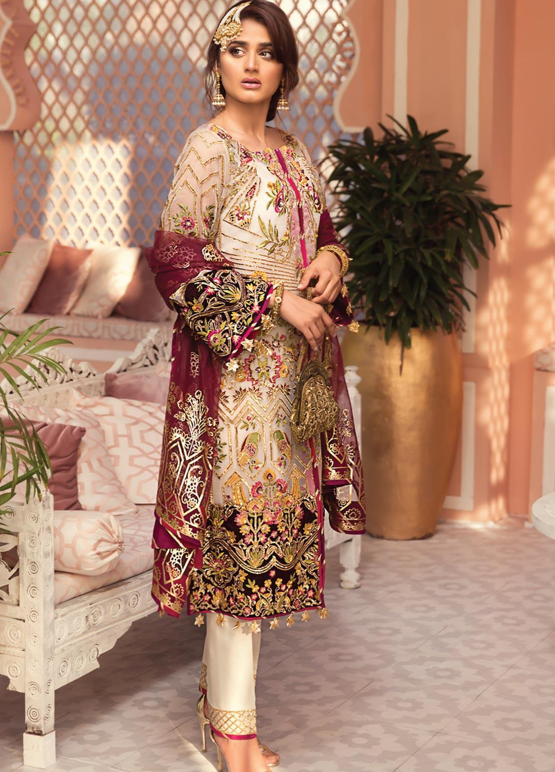 Jeem Embroidered Organza Unstitched 3 Piece Suit JM19W PUKHRAJ 4 - Wedding Collection
