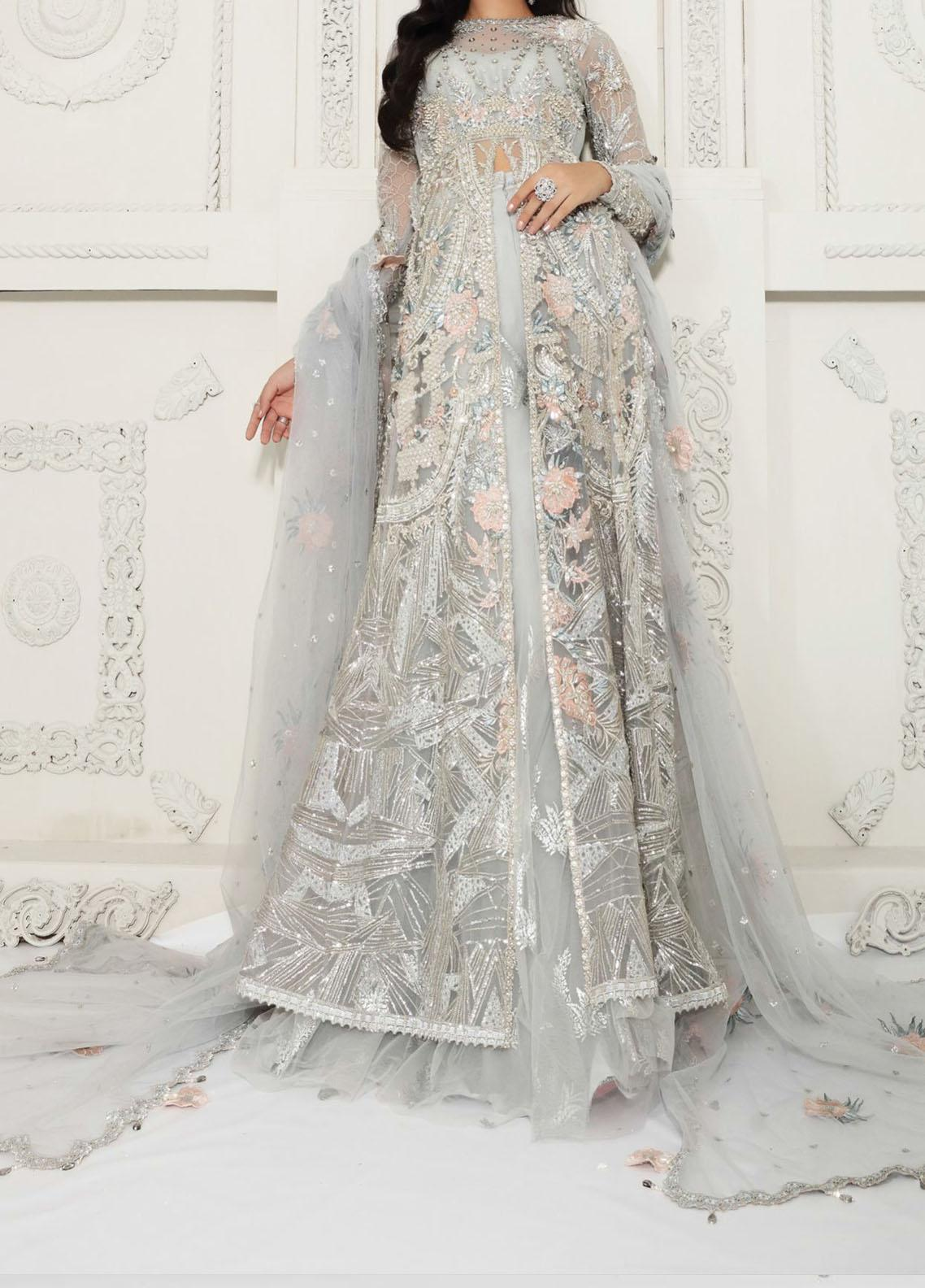Anaya By Kiran Chaudhry Embroidered Tulle Net Stitched 3 Piece Suit AKC20B 08 Amelia - Bridal Wear Collection