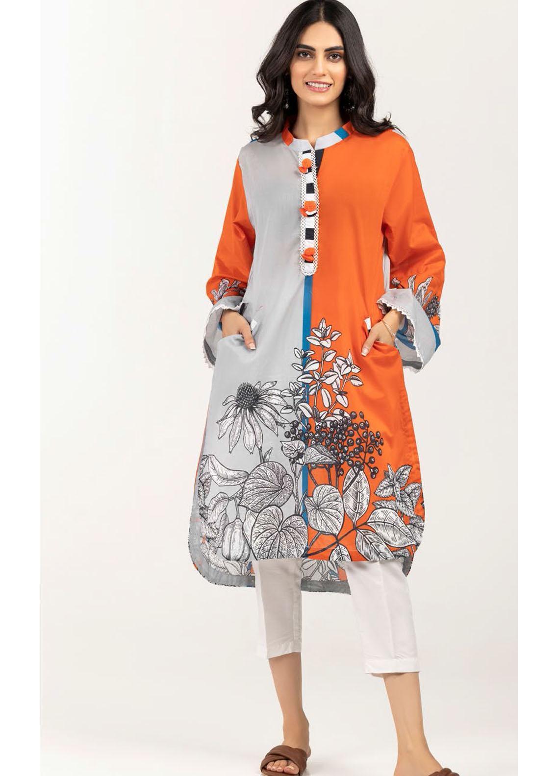 Gul Ahmed Luxury Pret Embroidered Lawn Kurties GA21K WGK-LWS-DP-433