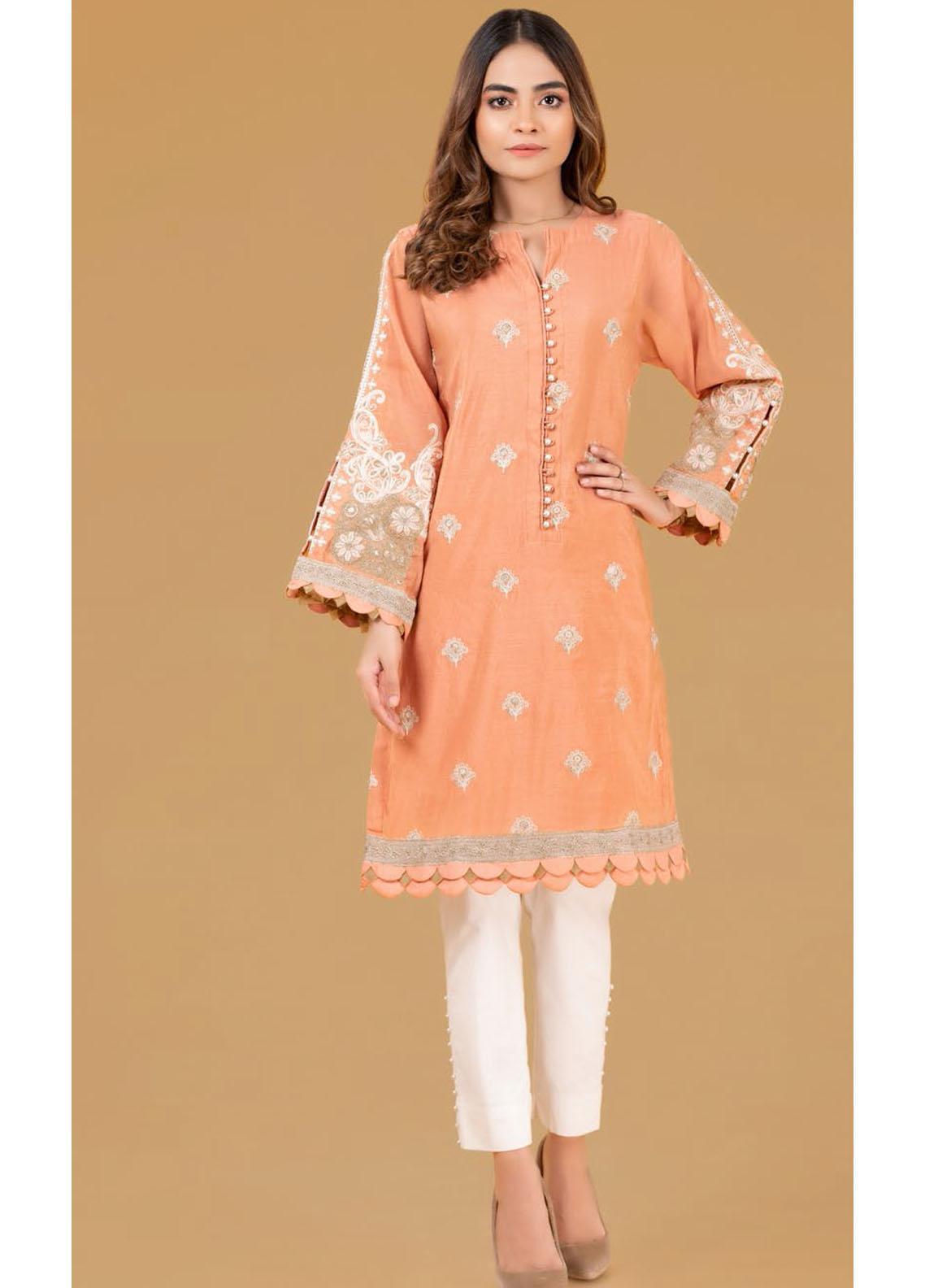 Gul Ahmed Luxury Pret Embroidered Cotton Kurties GA21K WGK-YDS-DE-417