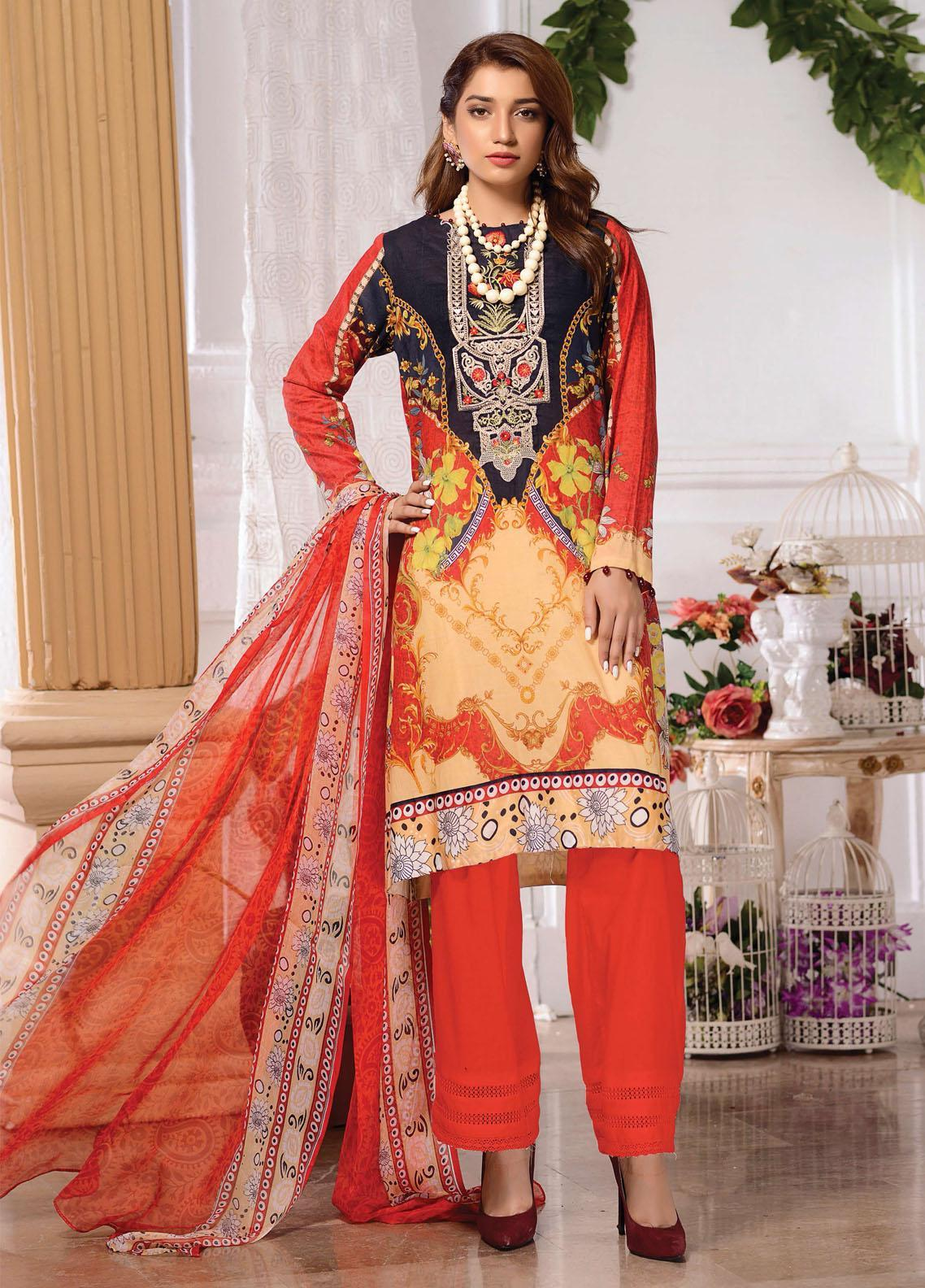 Kashish By Zebaish Embroidered Lawn Unstitched 3 Piece Suit ZSH21K 05 - Summer Collection