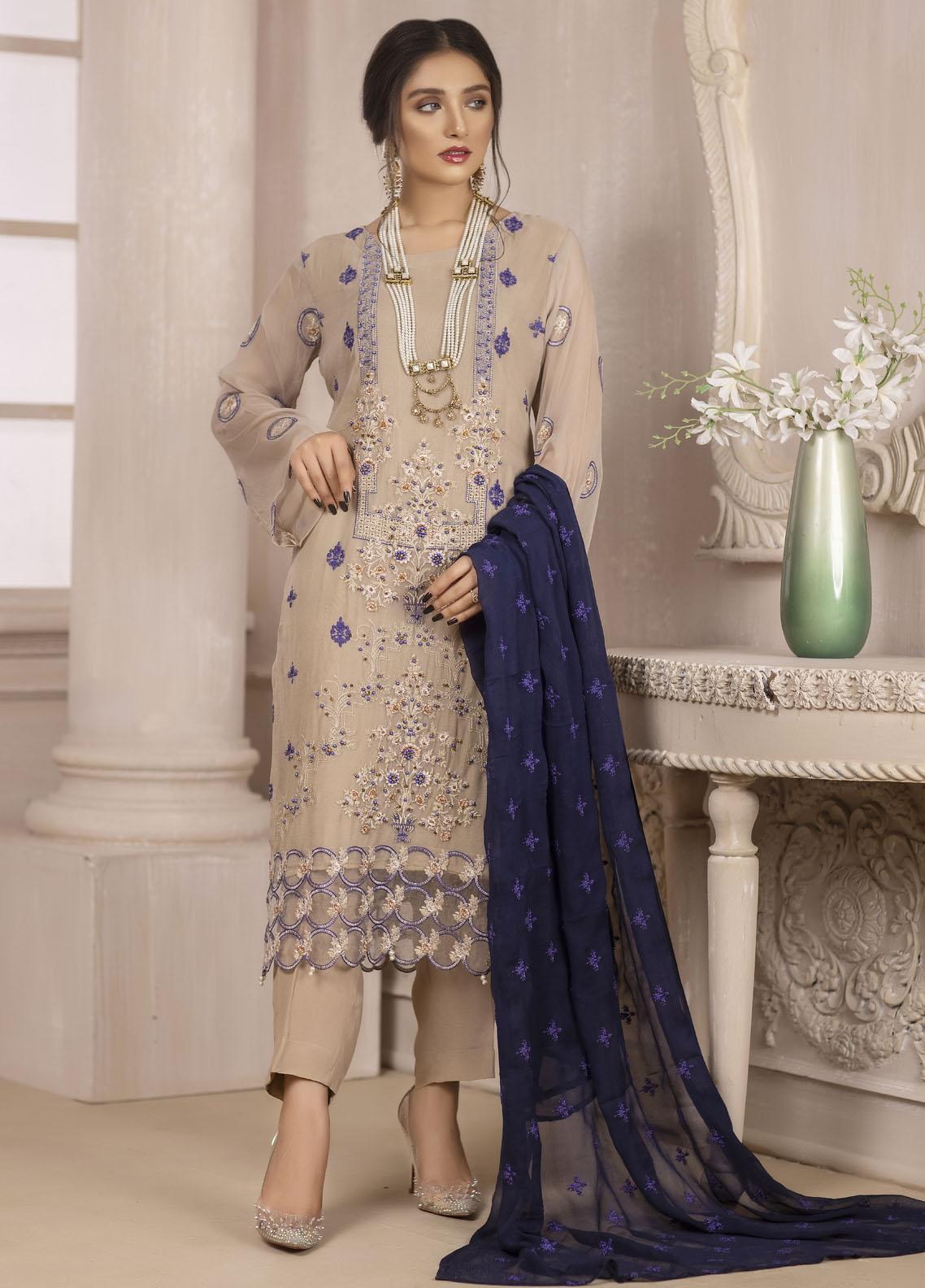Ketifa Embroidered Chiffon Suits Unstitched 3 Piece KT21HA-0201 Amber Gold - Luxury Collection