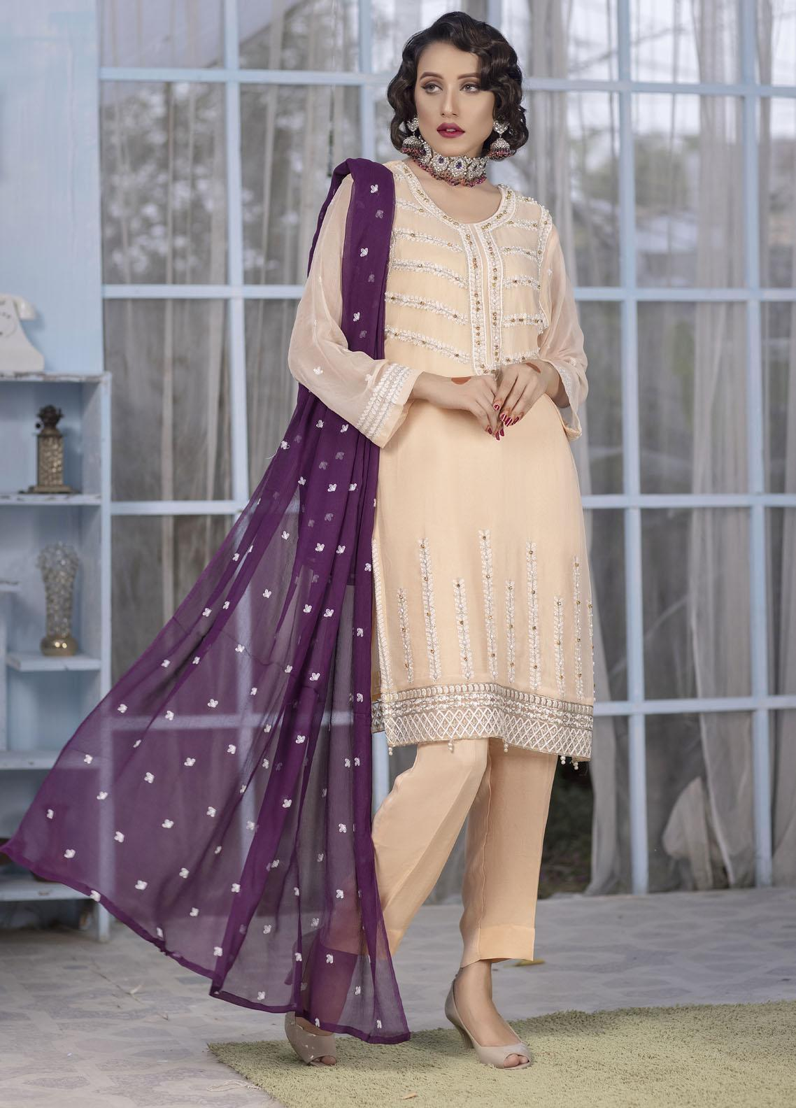 Ketifa Embroidered Chiffon Suits Unstitched 3 Piece KT21HA-0205 Gorgeous Fany - Luxury Collection