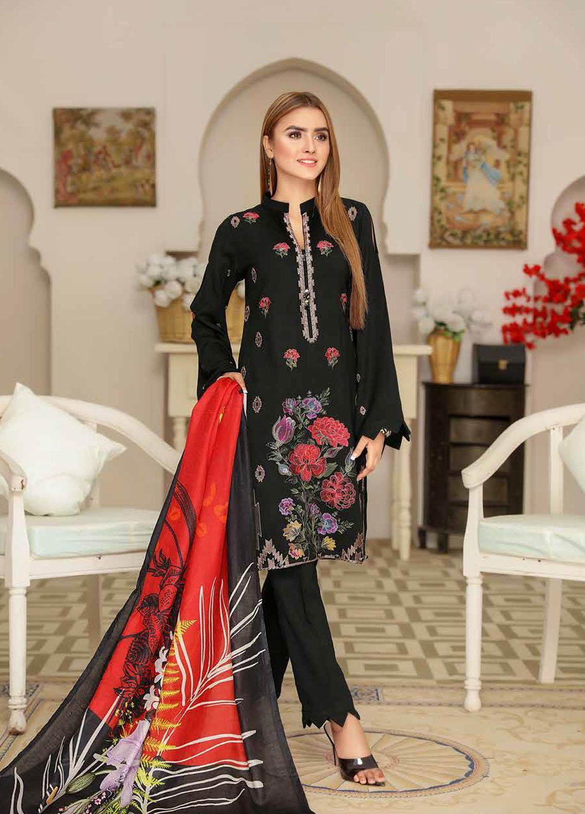 Khaka by Puri Fabrics Embroidered Leather Peach Unstitched 3 Piece Suit KH20P 02 - Winter Collection