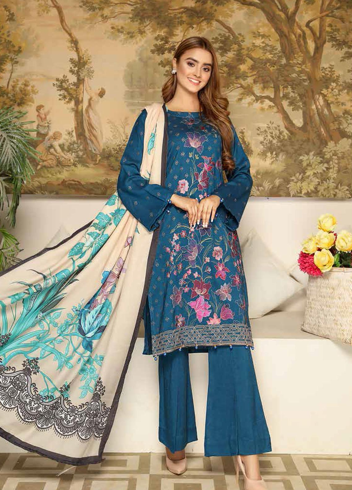 Khaka by Puri Fabrics Embroidered Leather Peach Unstitched 3 Piece Suit KH20P 10 - Winter Collection
