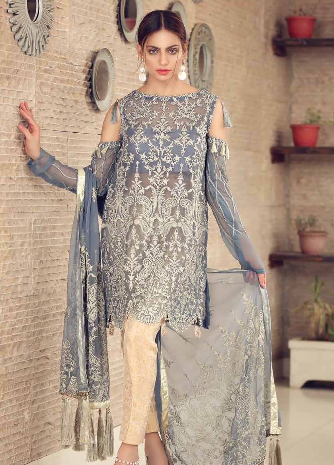 Khaka by Puri Fabrics Embroidered Chiffon Unstitched 3 Piece Suit KH20PF 03 - Luxury Collection