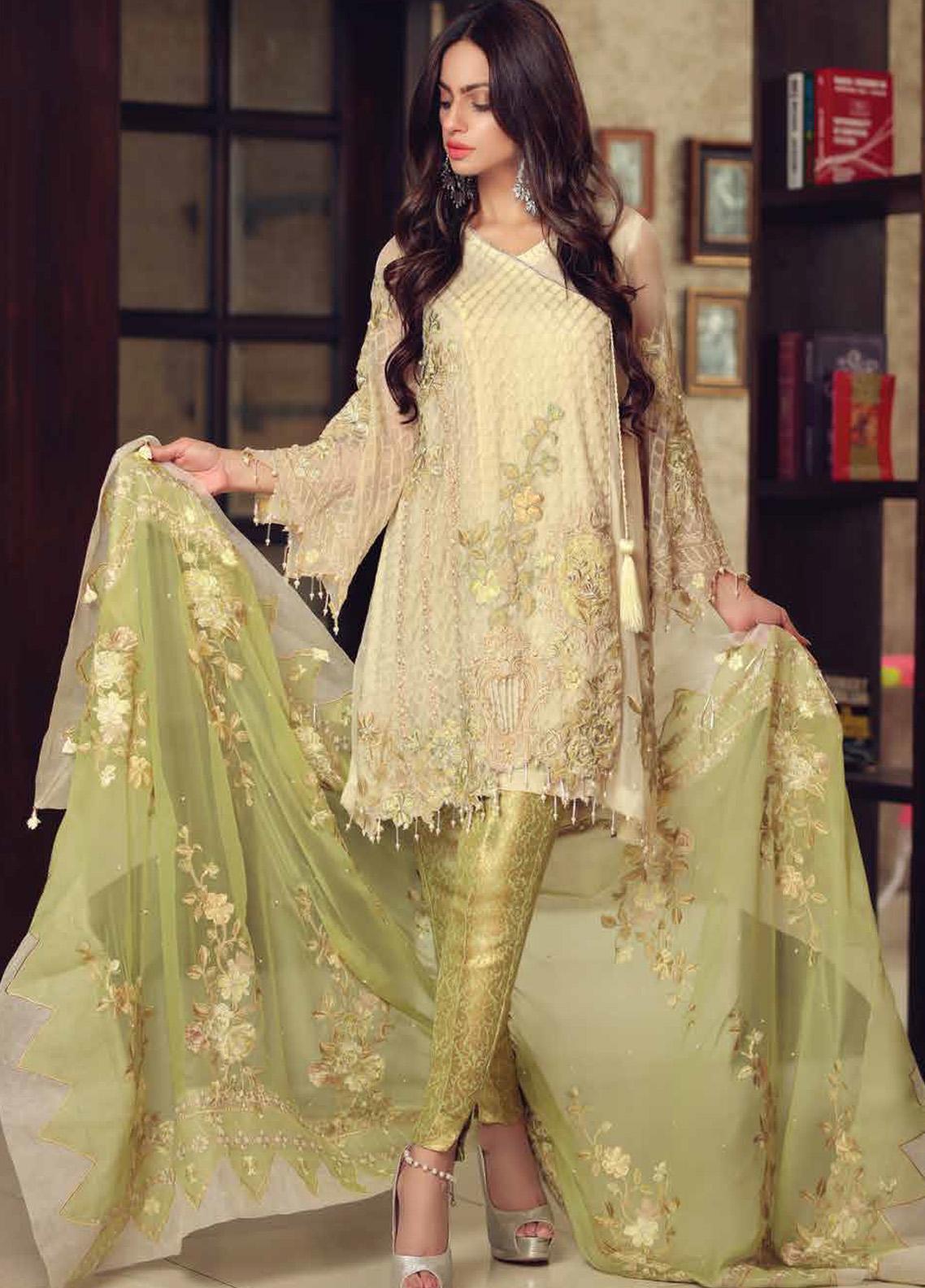 Khaka by Puri Fabrics Embroidered Chiffon Unstitched 3 Piece Suit KH20PF 04 - Luxury Collection