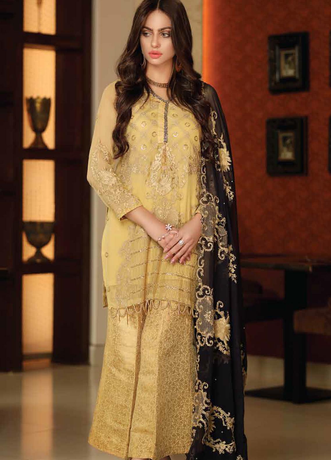 Khaka by Puri Fabrics Embroidered Chiffon Unstitched 3 Piece Suit KH20PF 10 - Luxury Collection