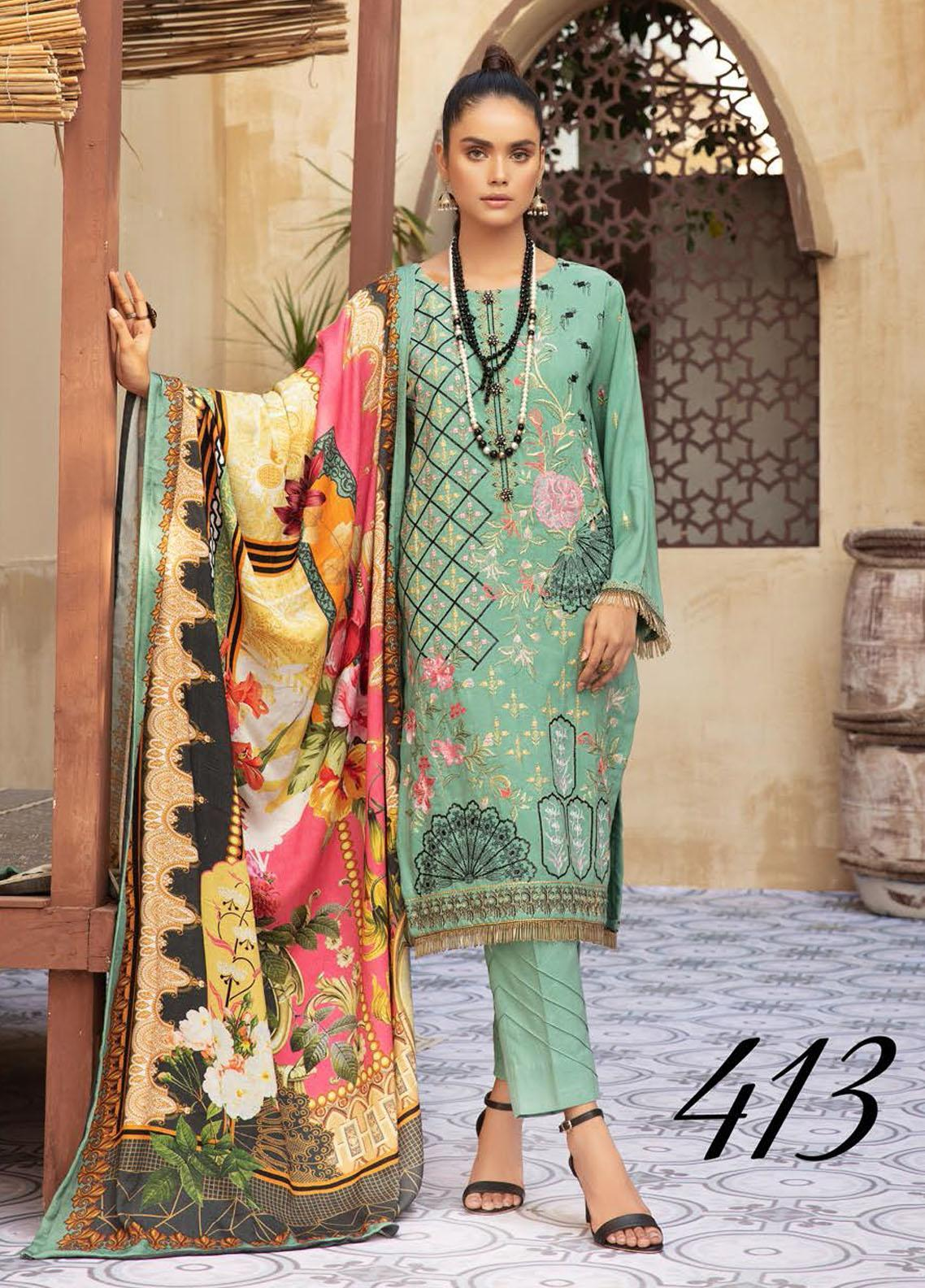 Khoobseerat by Shaista Embroidered Peach Unstitched 3 Piece Suit SHT20KB 413 - Winter Collection