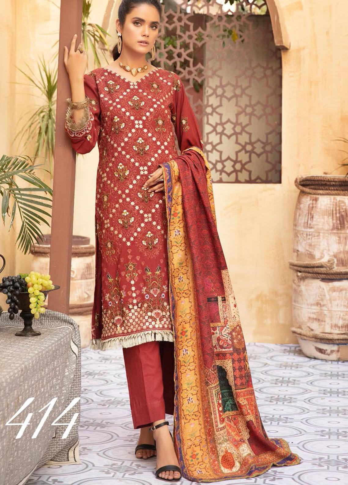 Khoobseerat by Shaista Embroidered Peach Unstitched 3 Piece Suit SHT20KB 414 - Winter Collection