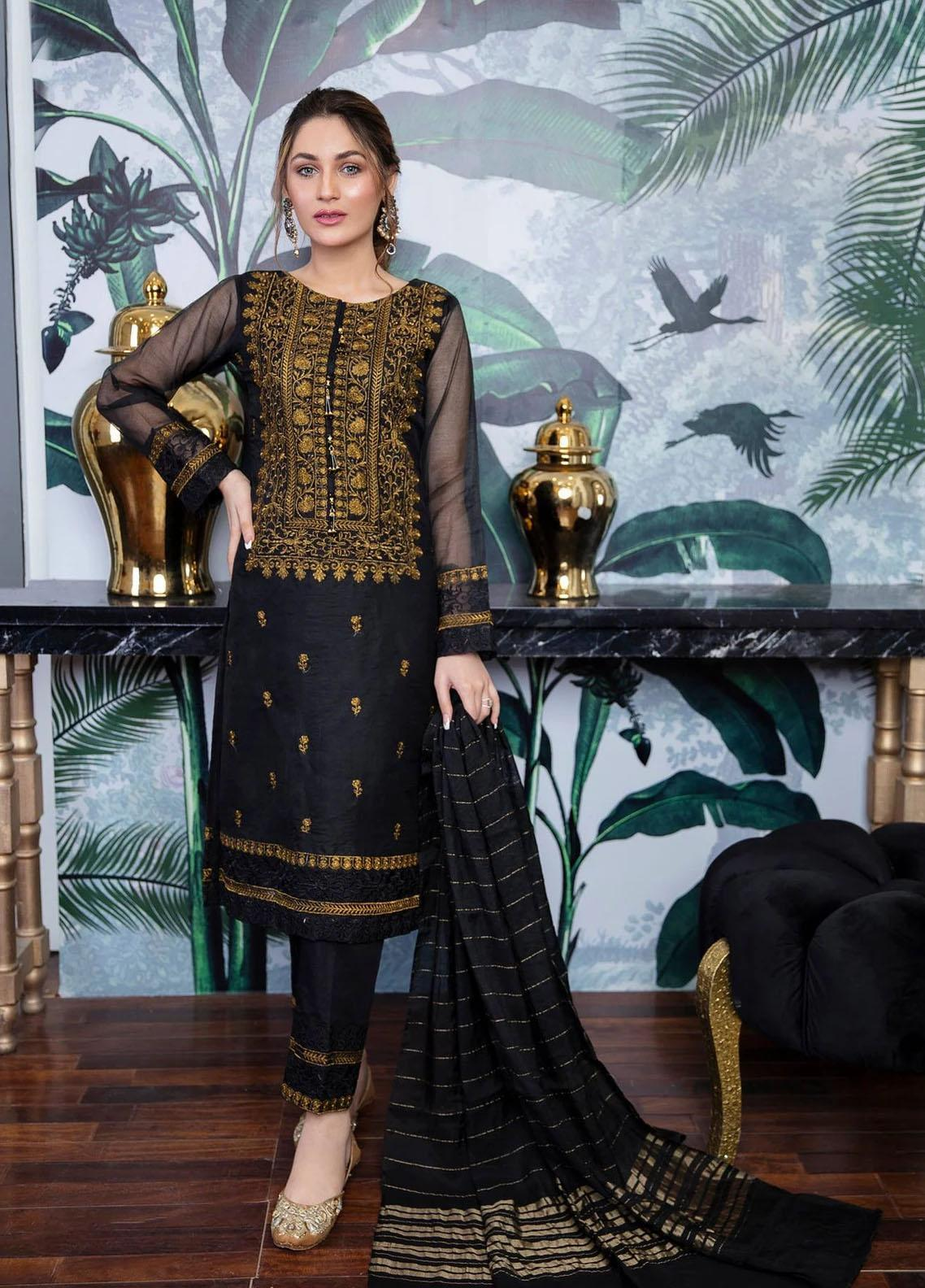 Panache Apparel Luxury Pret  Organza Shirt ZAFRAN