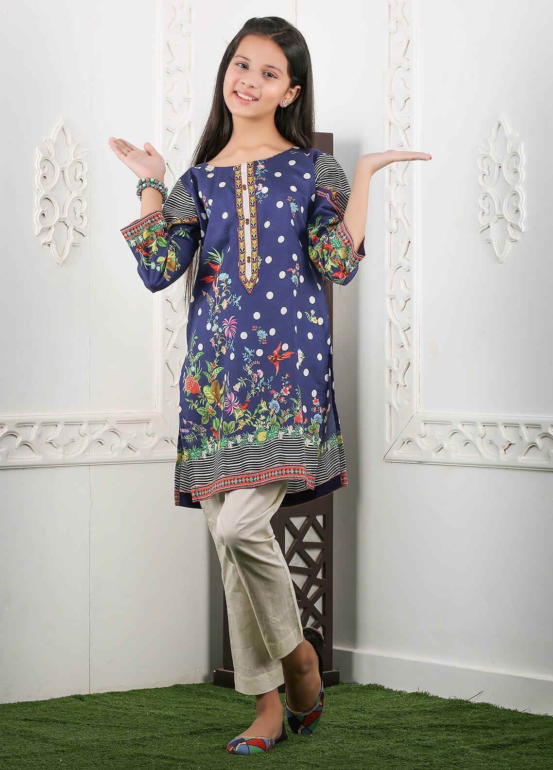 Waniya Cotton Printed Girls 2 Piece Suit -  WKA20-14