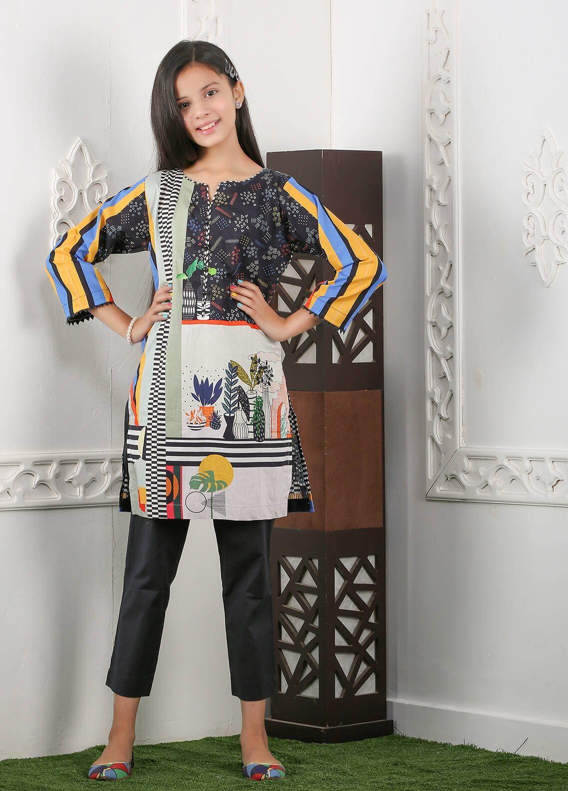 Waniya Cotton Printed 2 Piece Suit for Girls -  WKA20-19