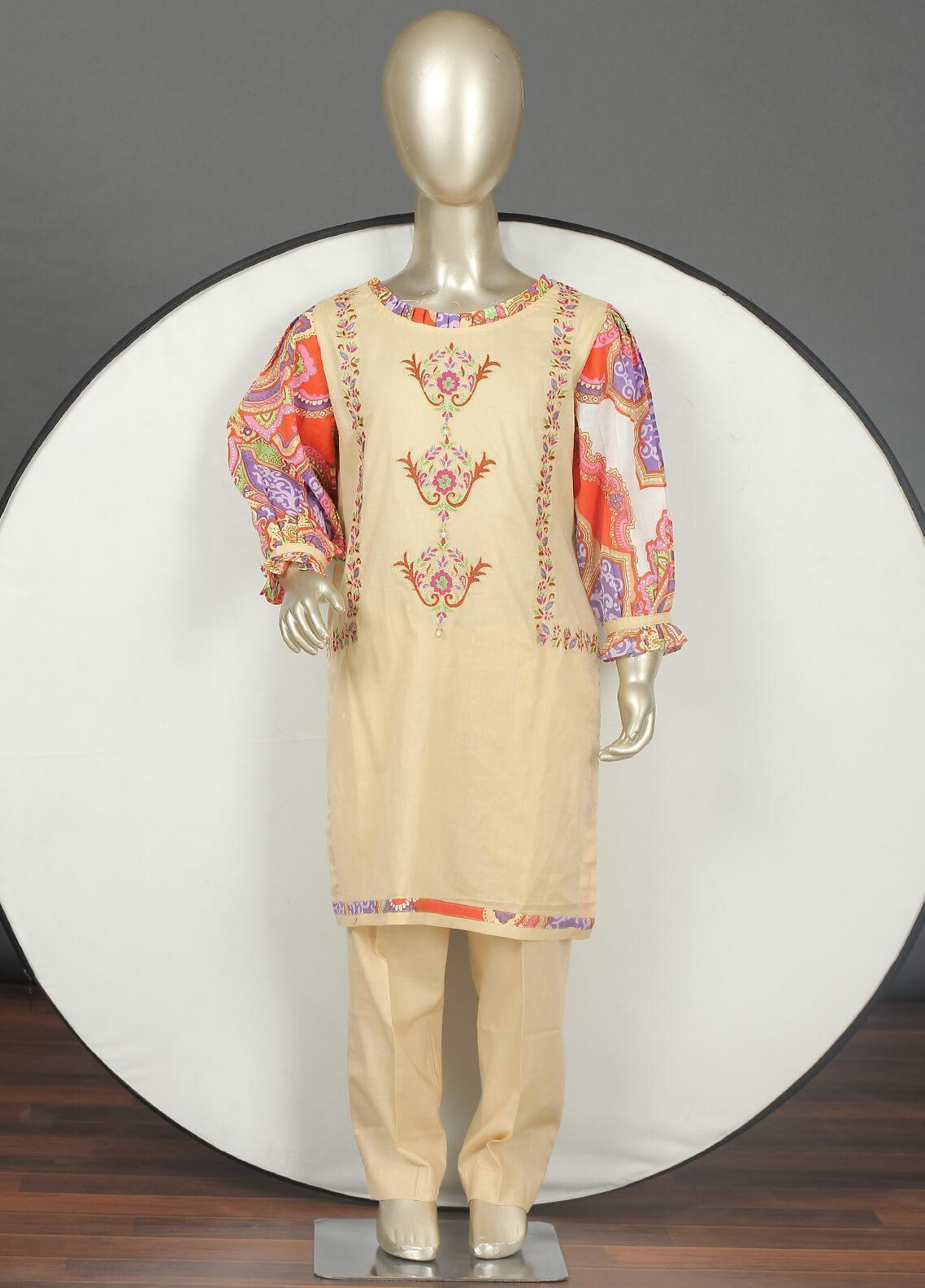 Sanaulla Exclusive Range Cotton Embroidered 3 Piece Suits for Girls -  5060G Beige