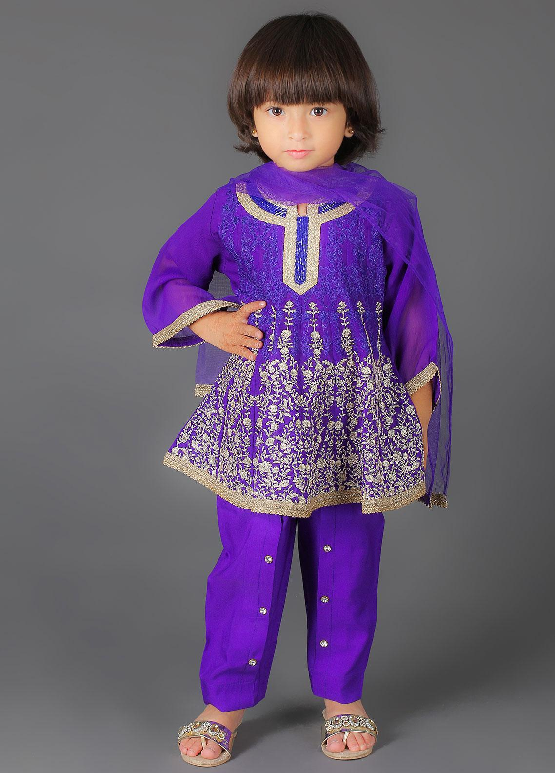 Sanaulla Exclusive Range Cotton Embroidered Girls 3 Piece Suits -  K-233 Royal Blue