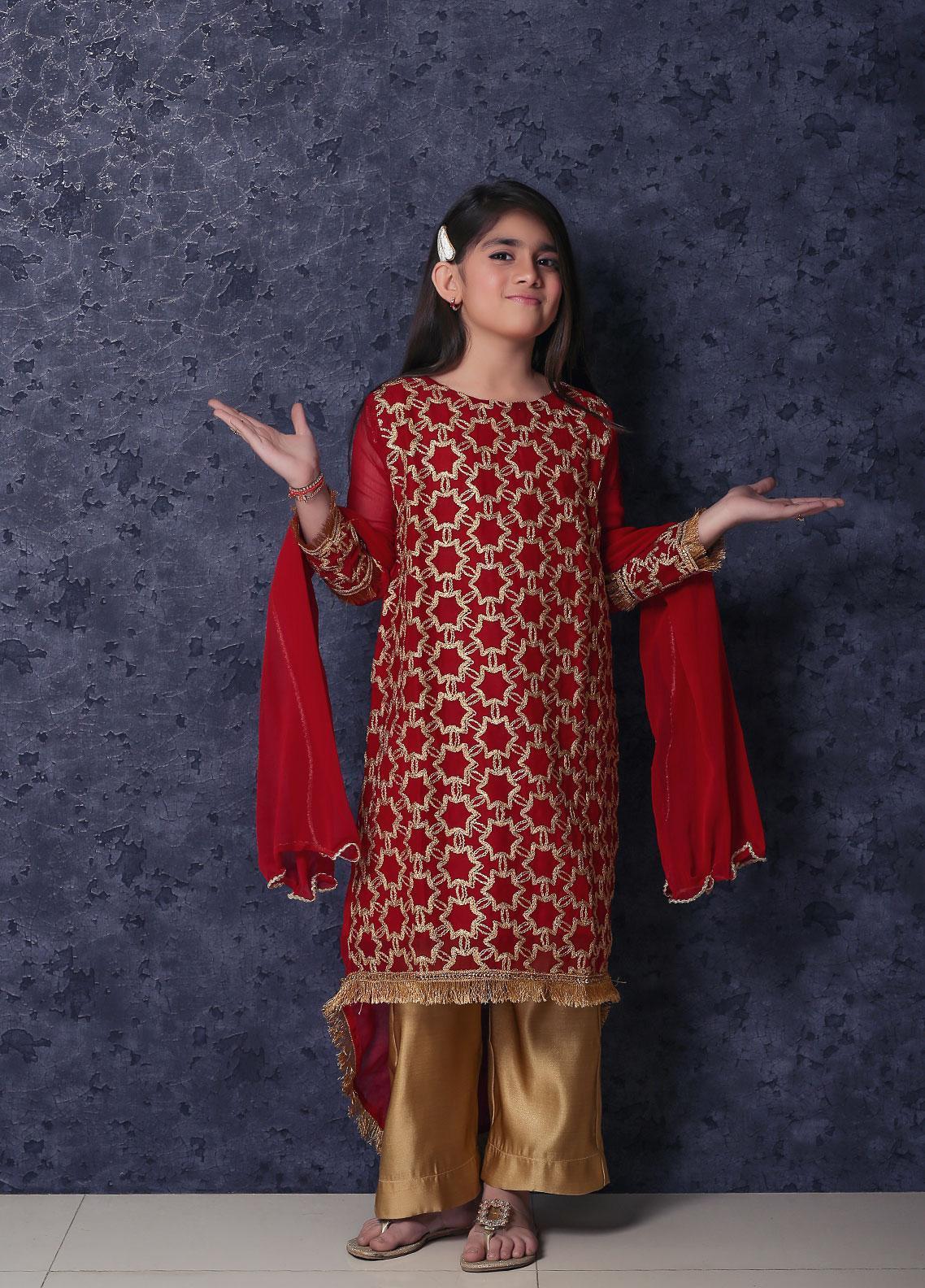 Nargis Shaheen Chiffon Formal 3 Piece Suit for Girls -  NSK-011