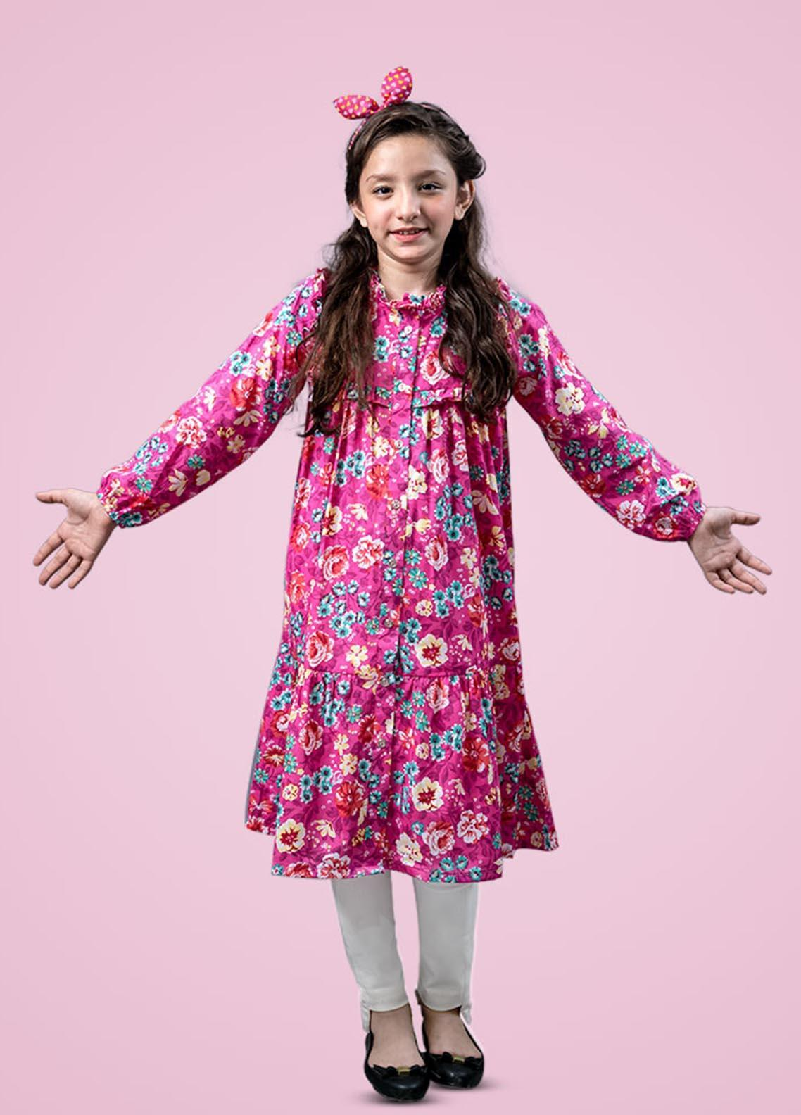 Kids Polo Cotton Fancy Long Dress for Girls -  GWWK20204