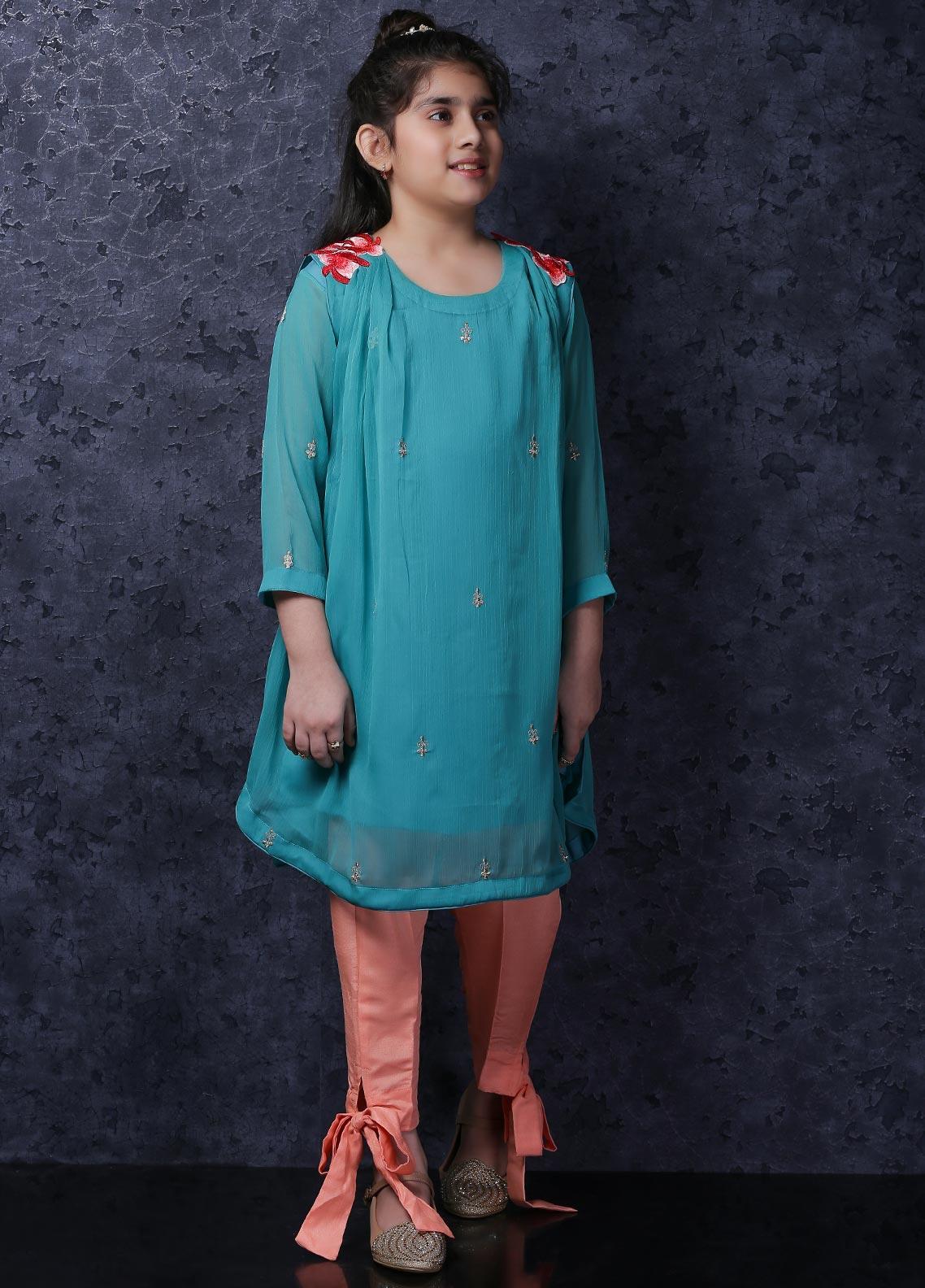 Nargis Shaheen Chiffon Luxury Girls 2 Piece Suit -  NSK-038