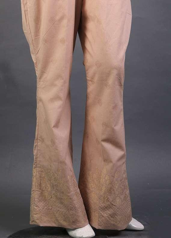 Kross Kulture Self Printed Cotton Stitched Trousers KK 155B Beige